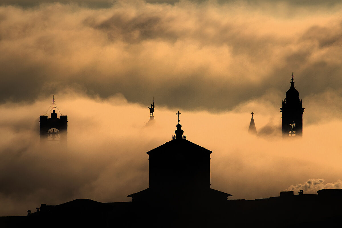 Bergamo high immersed in the fog...