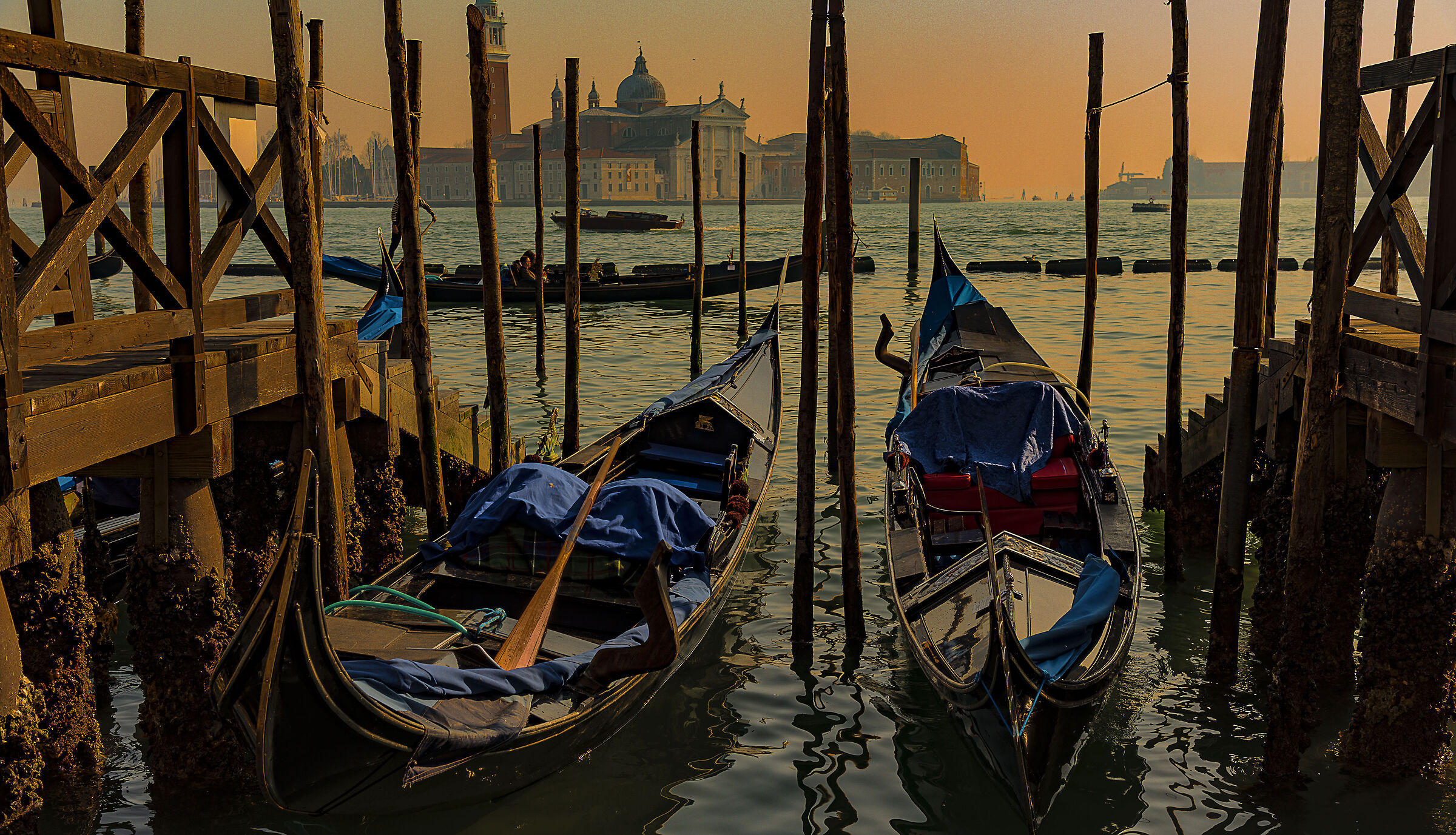 Gondolas at sunset...