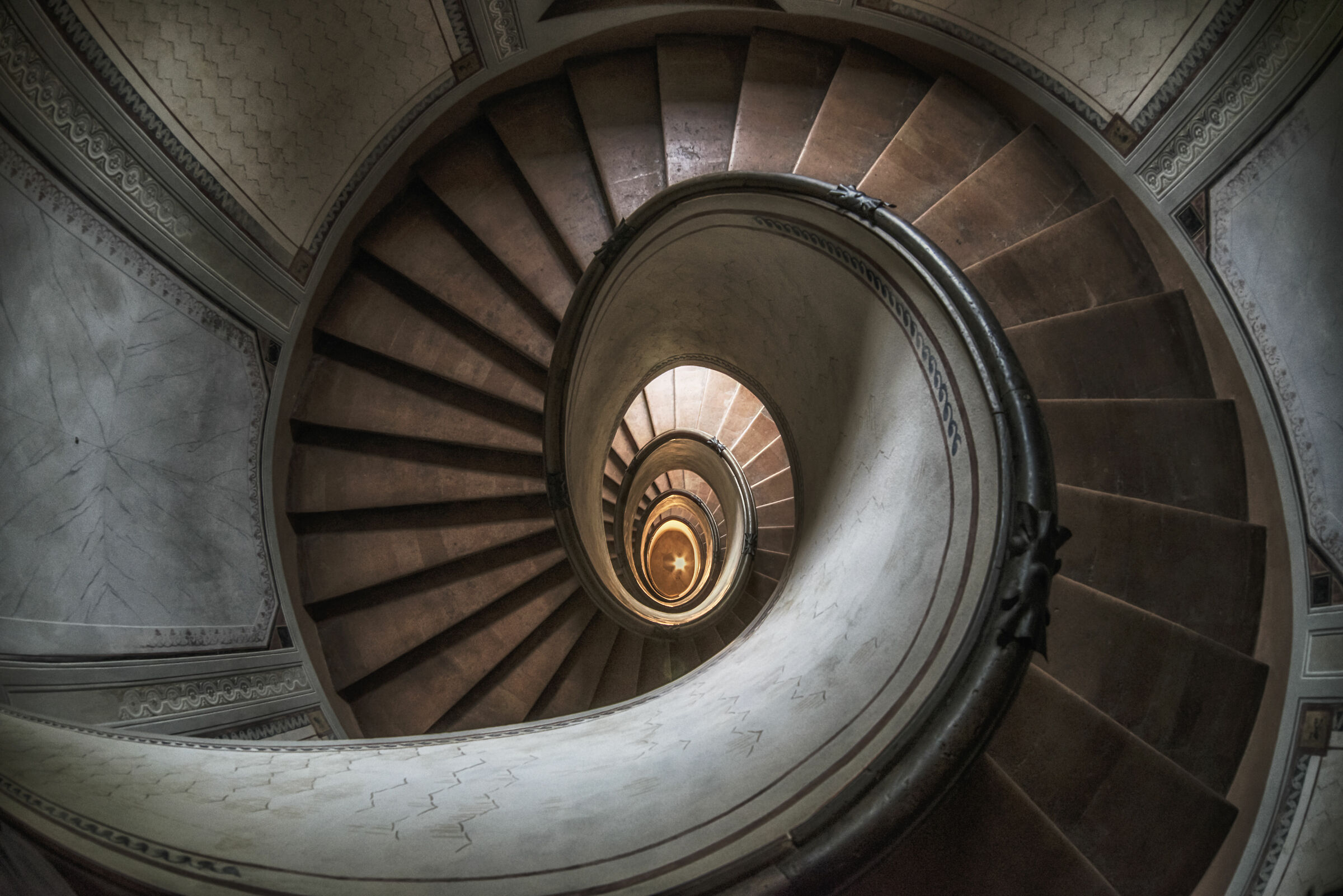 The spiral staircase of the Barozzi...