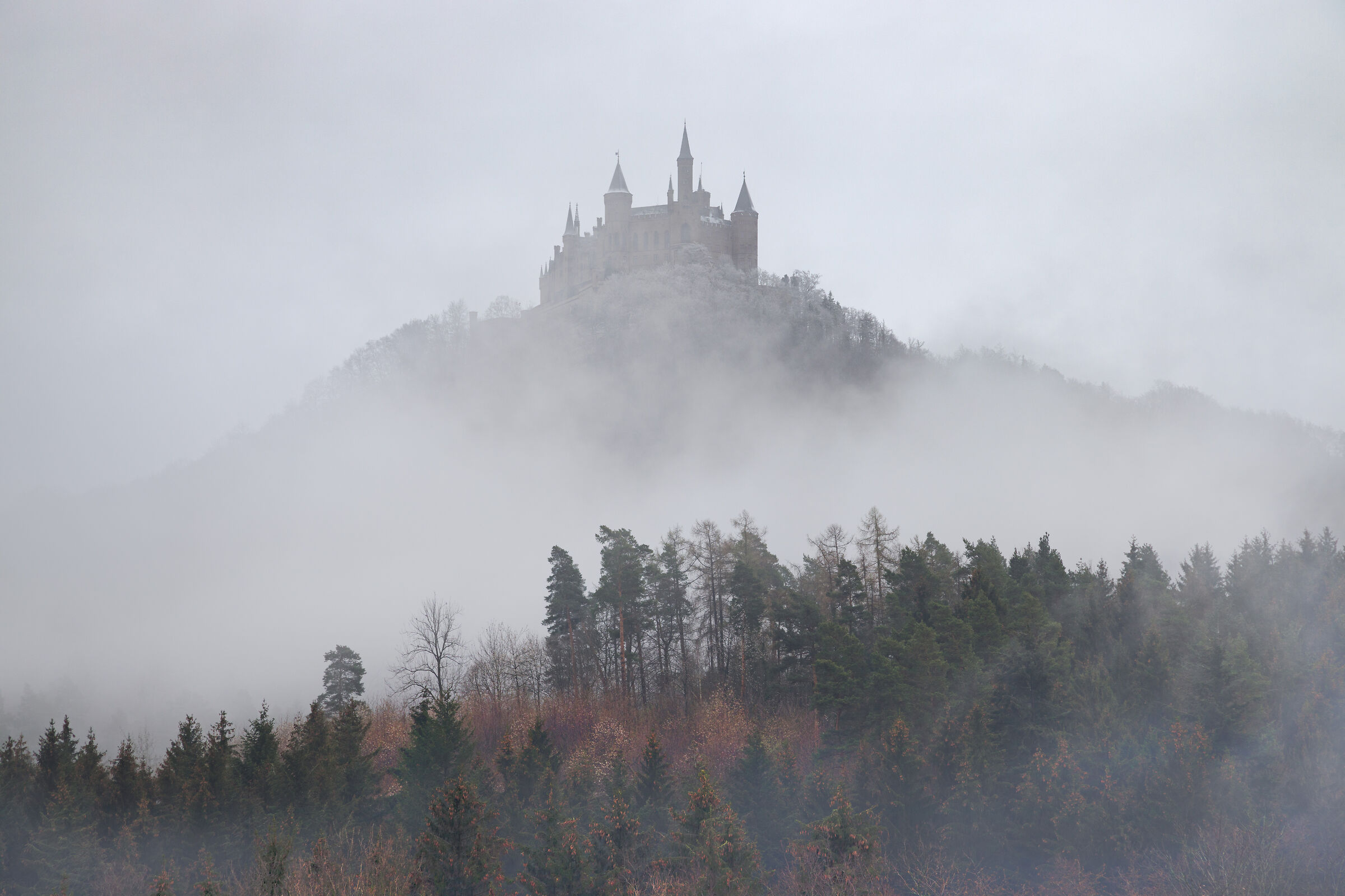 Il castello di Hohenzollern tra le nebbie...