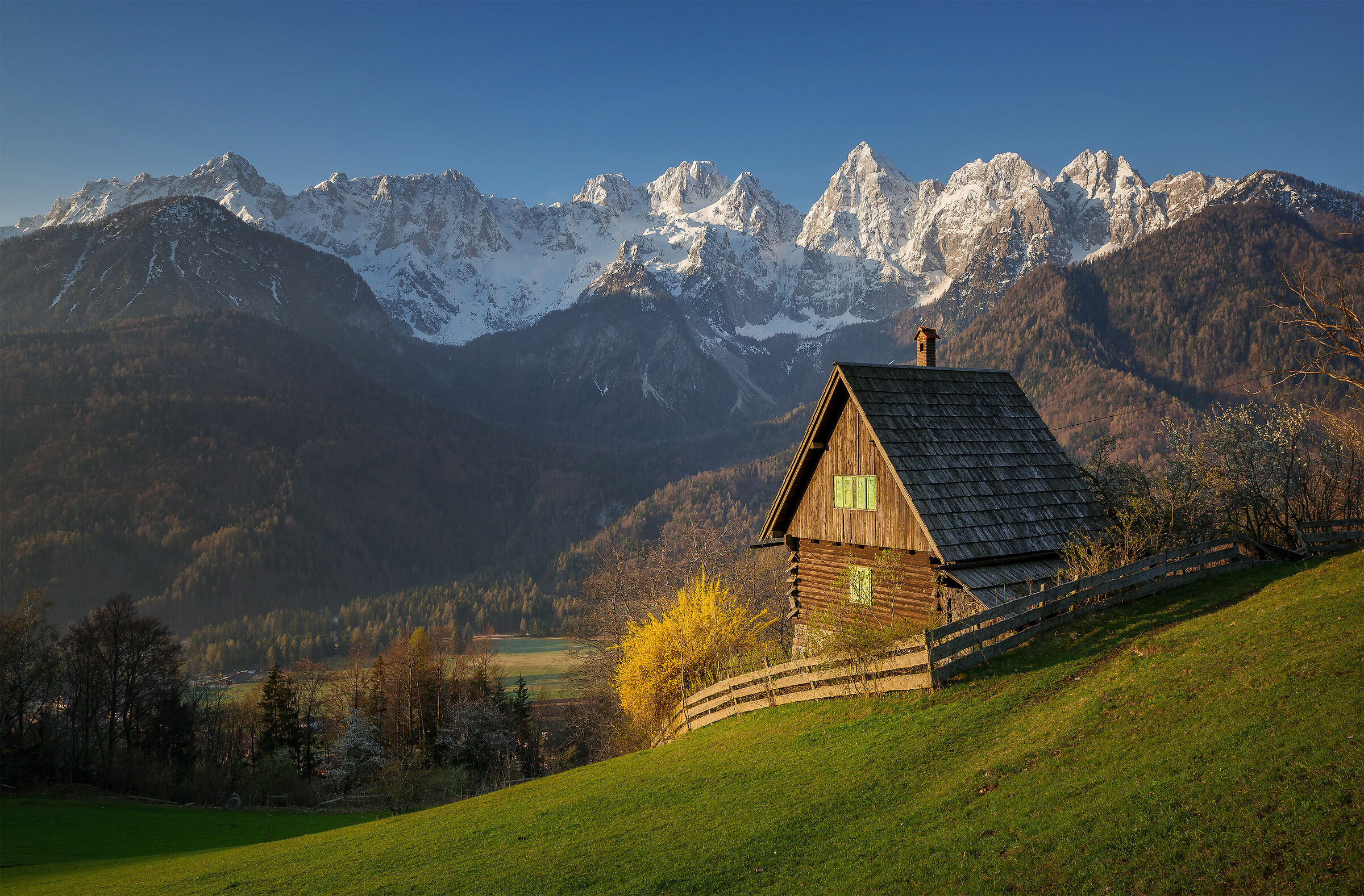 Idyllic scenery on a spring morning in the Julian Alps...