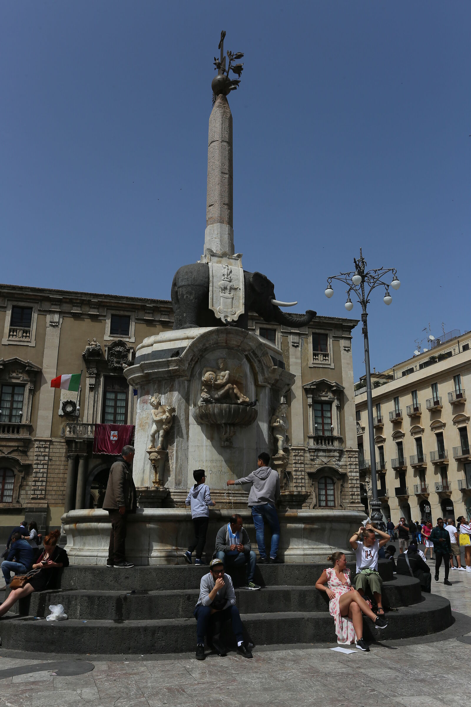 Fountain of the elephant Catania with human elements ...