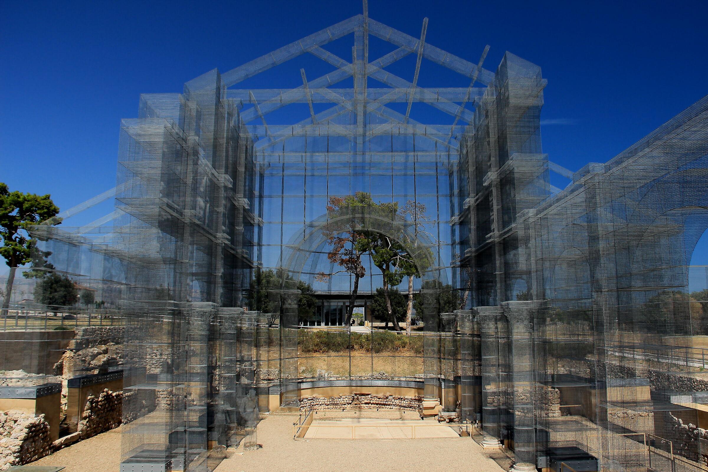 Manfredonia. Basilica in wire mesh of Siponto...
