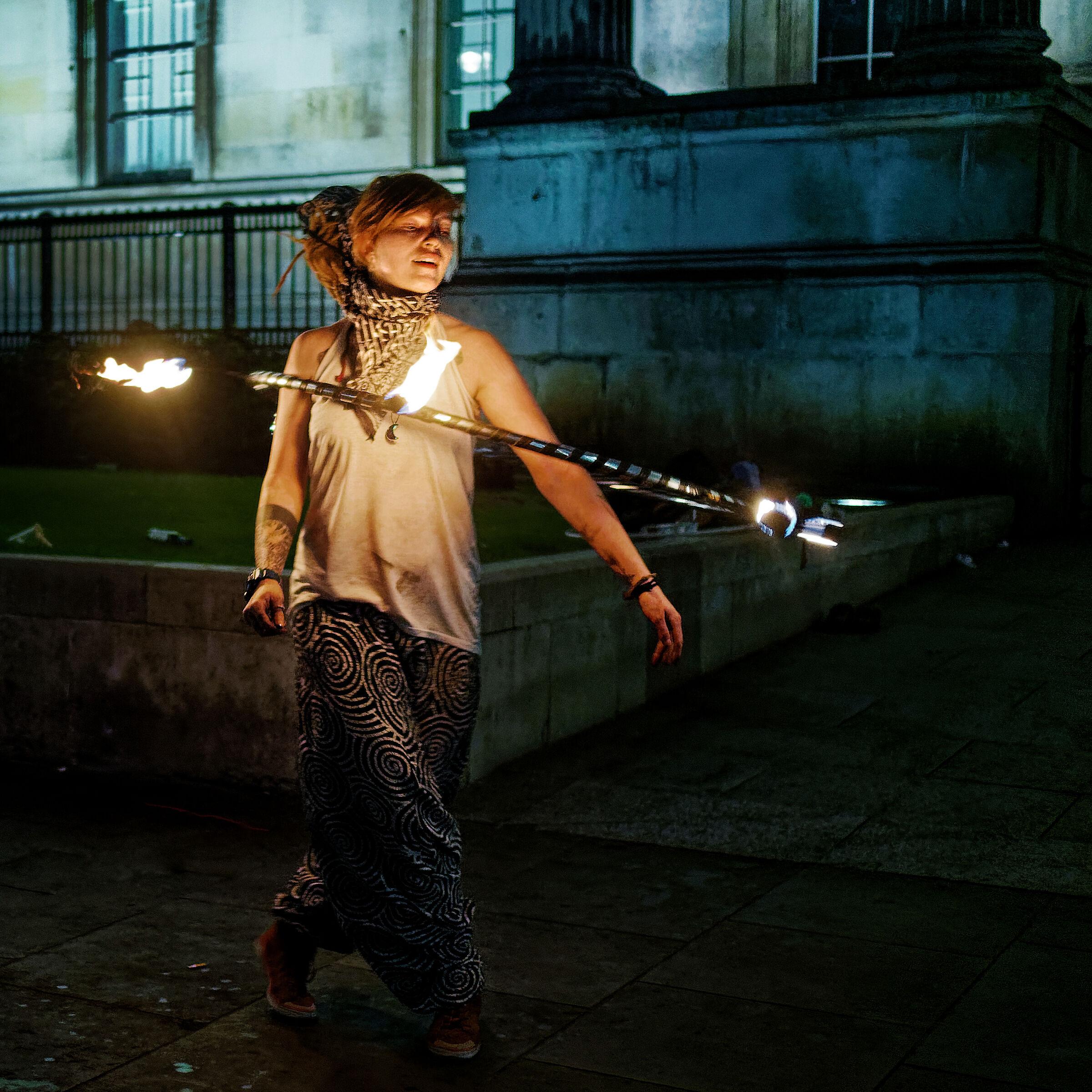 Performer in Trafalgar Square London...