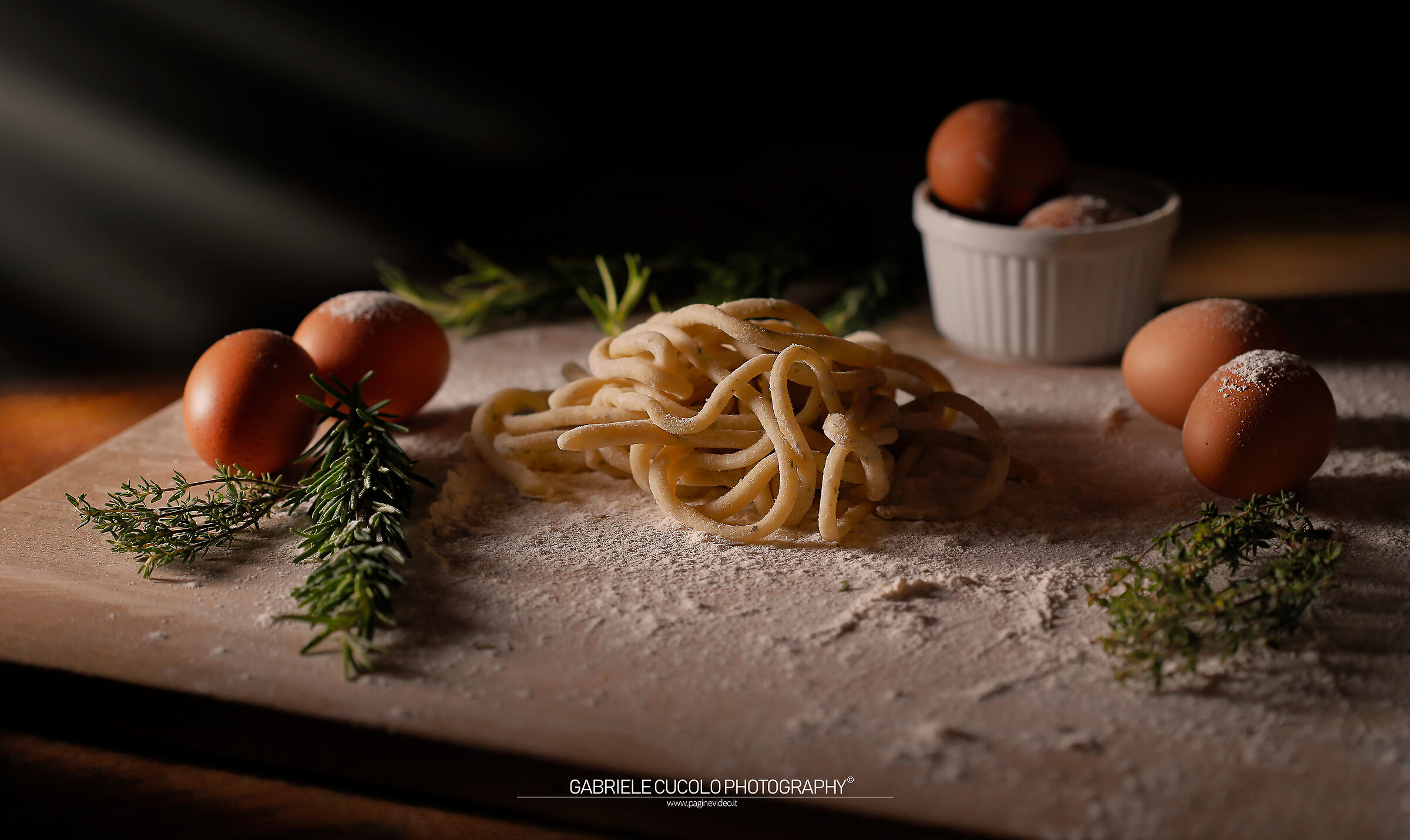Pici with thyme and rosemary...