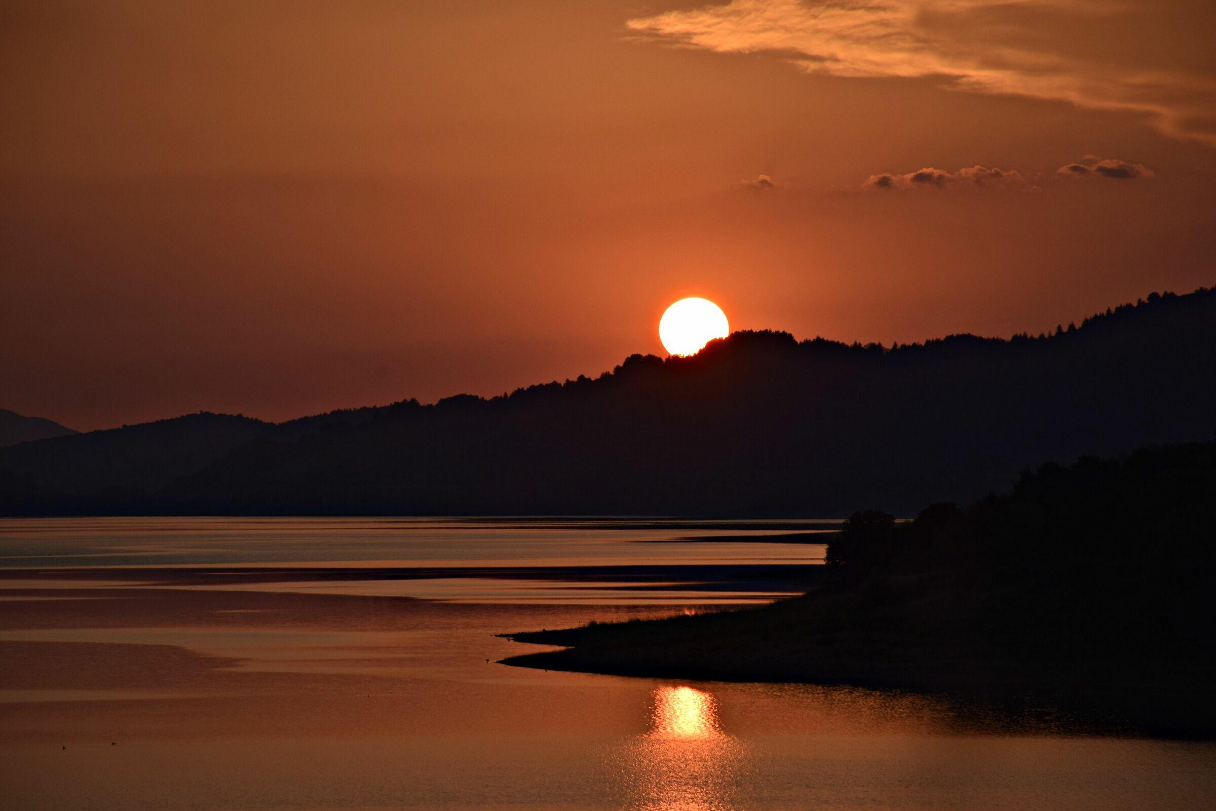 Sunset over Lake Campotosto...