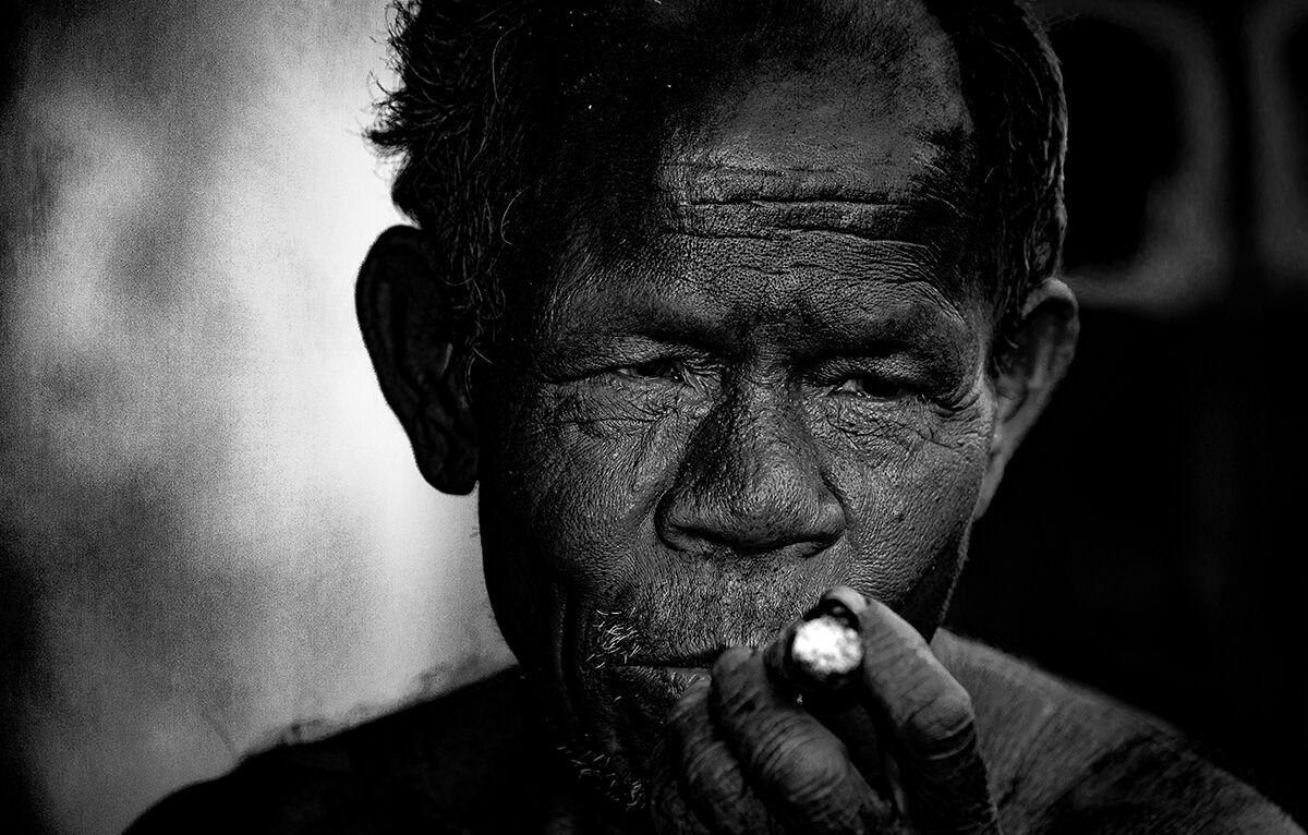 Smoking outside....