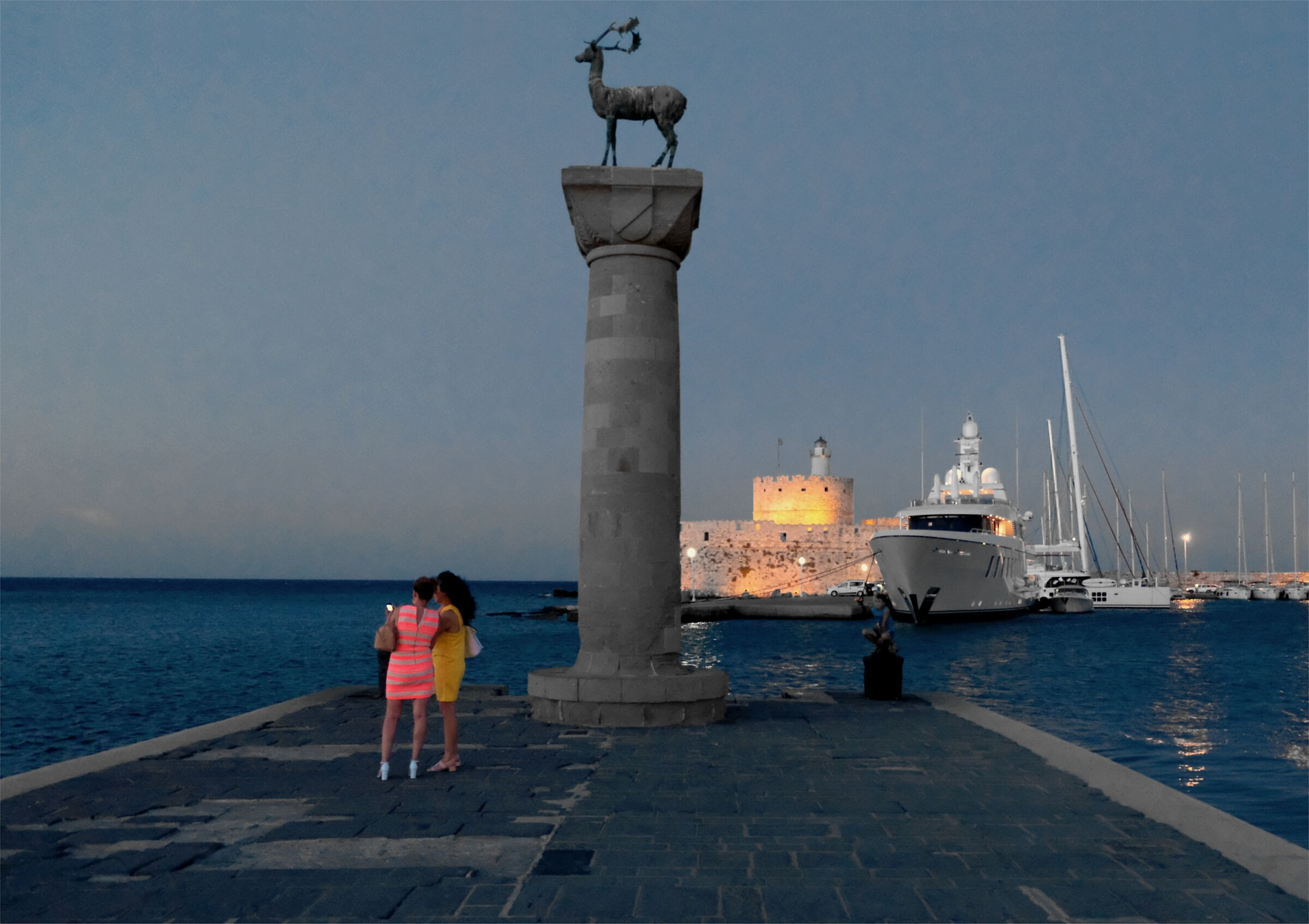 The old port of Rhodes at dusk...