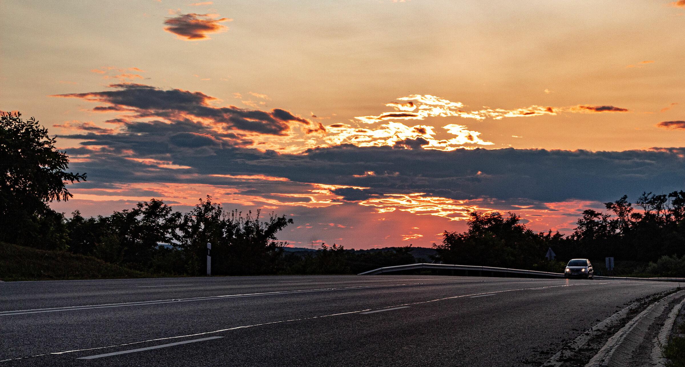 Hungary Highway sunset ...