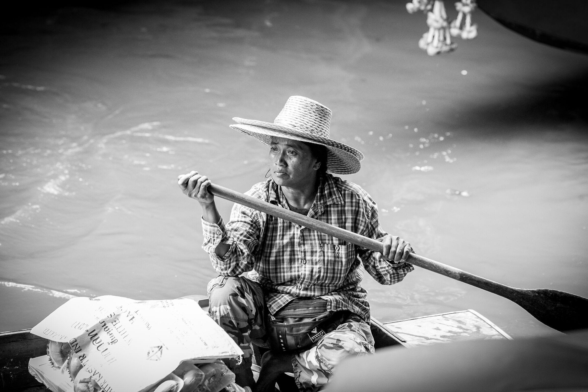 Woman at Floating Market Damemon Soudan, B/N...