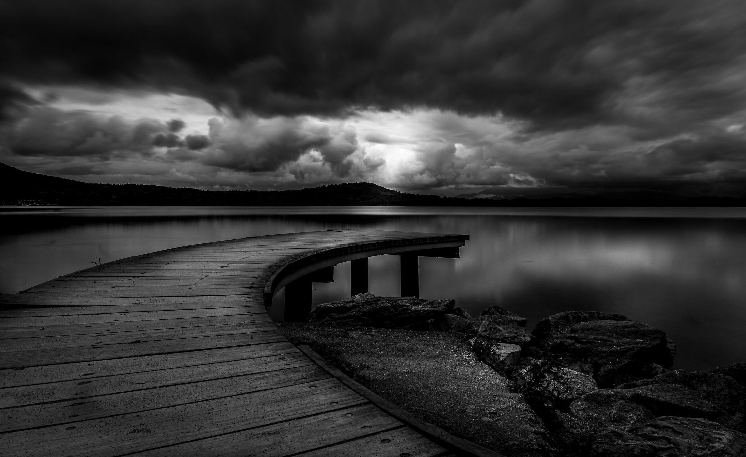 Lightning on lake...