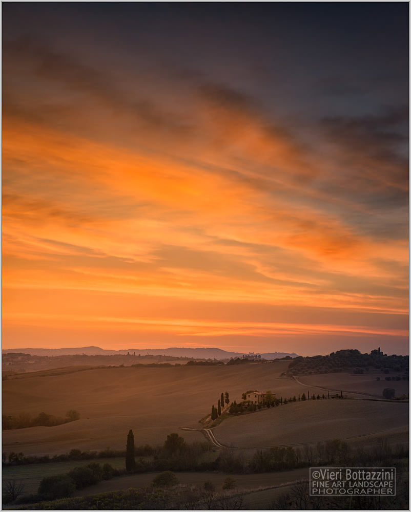 Sunset over the Tuscan hills...