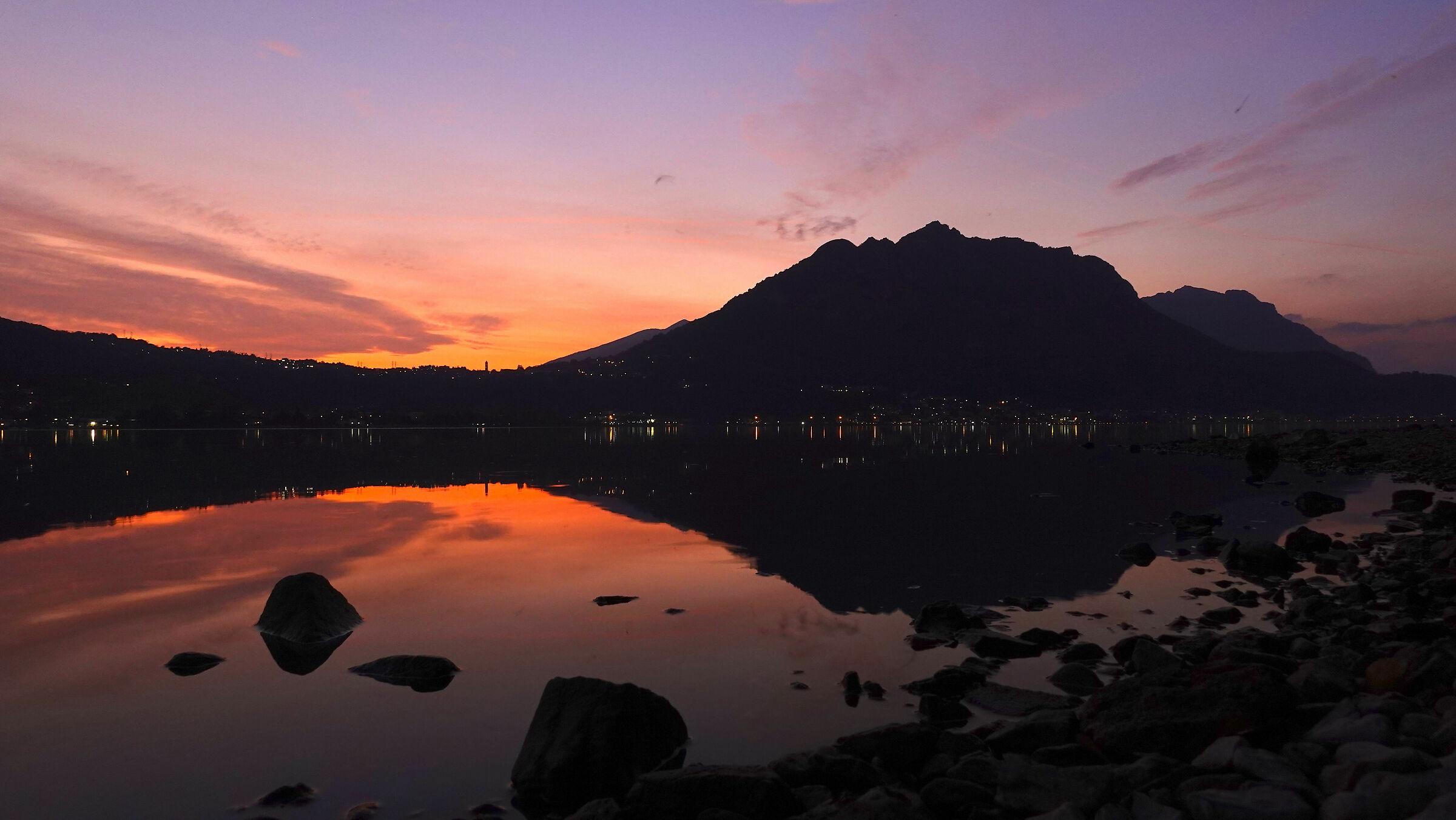 Autumn sunset over Lake Garlate...