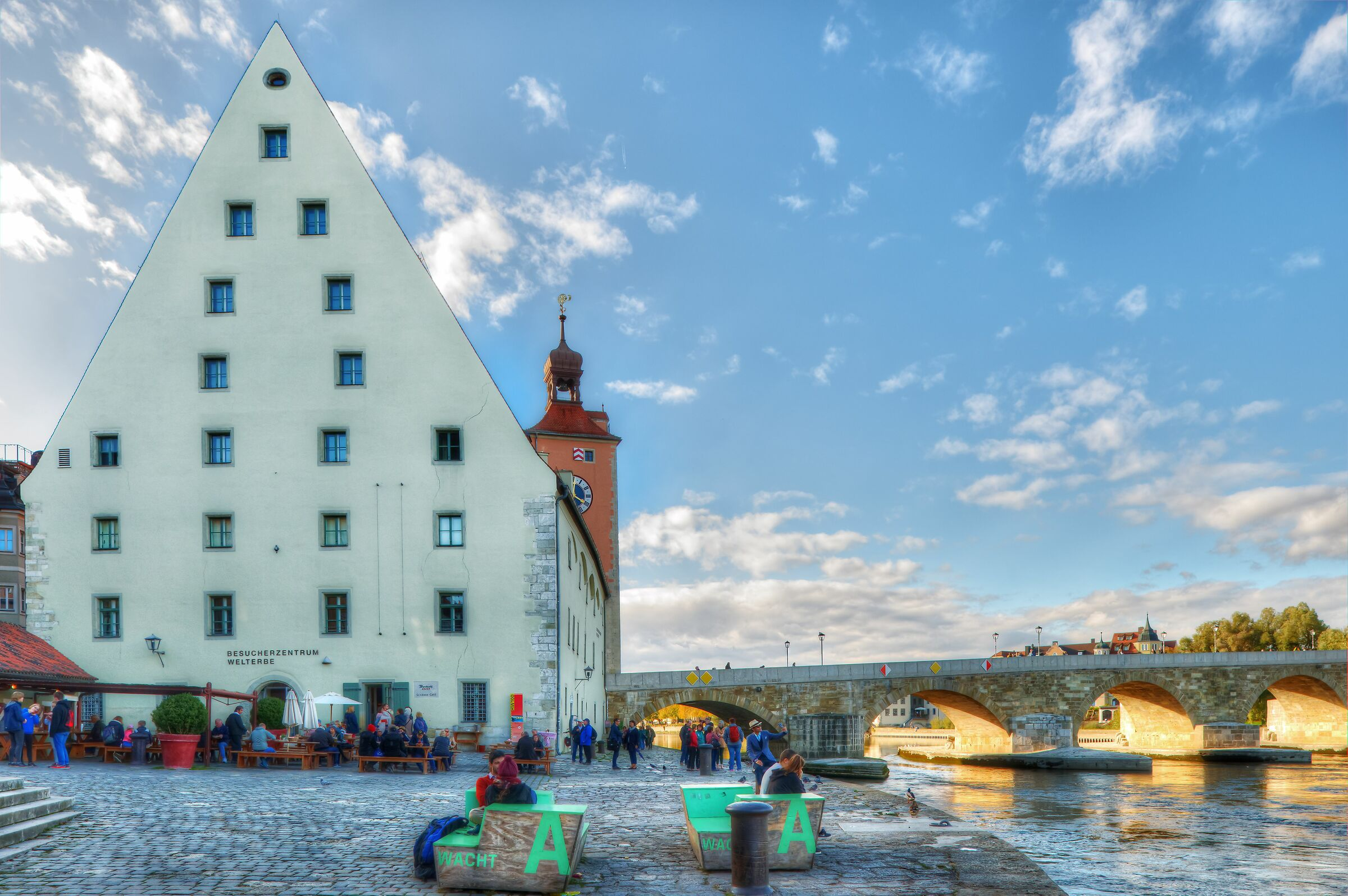 Old Salt Storage and Stone Bridge; Regensburg, Germany...