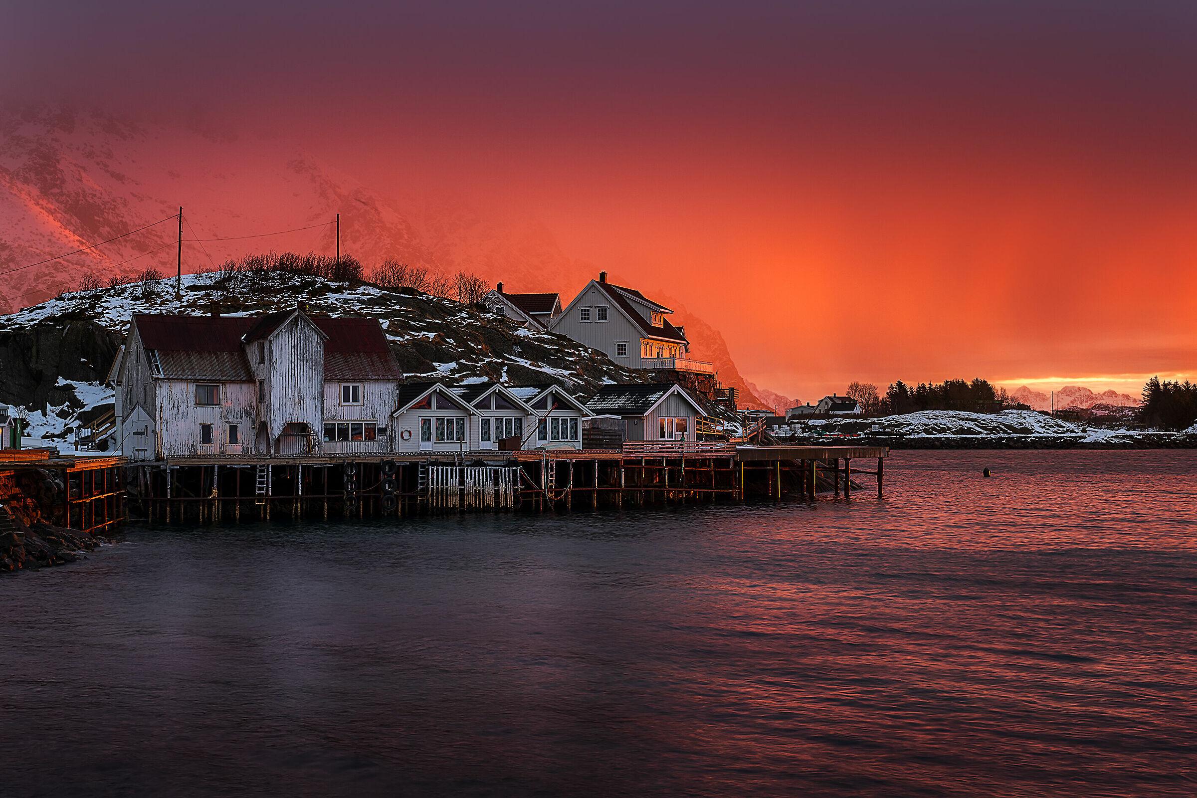 Henningsvaer... sunrise before the snowfall...