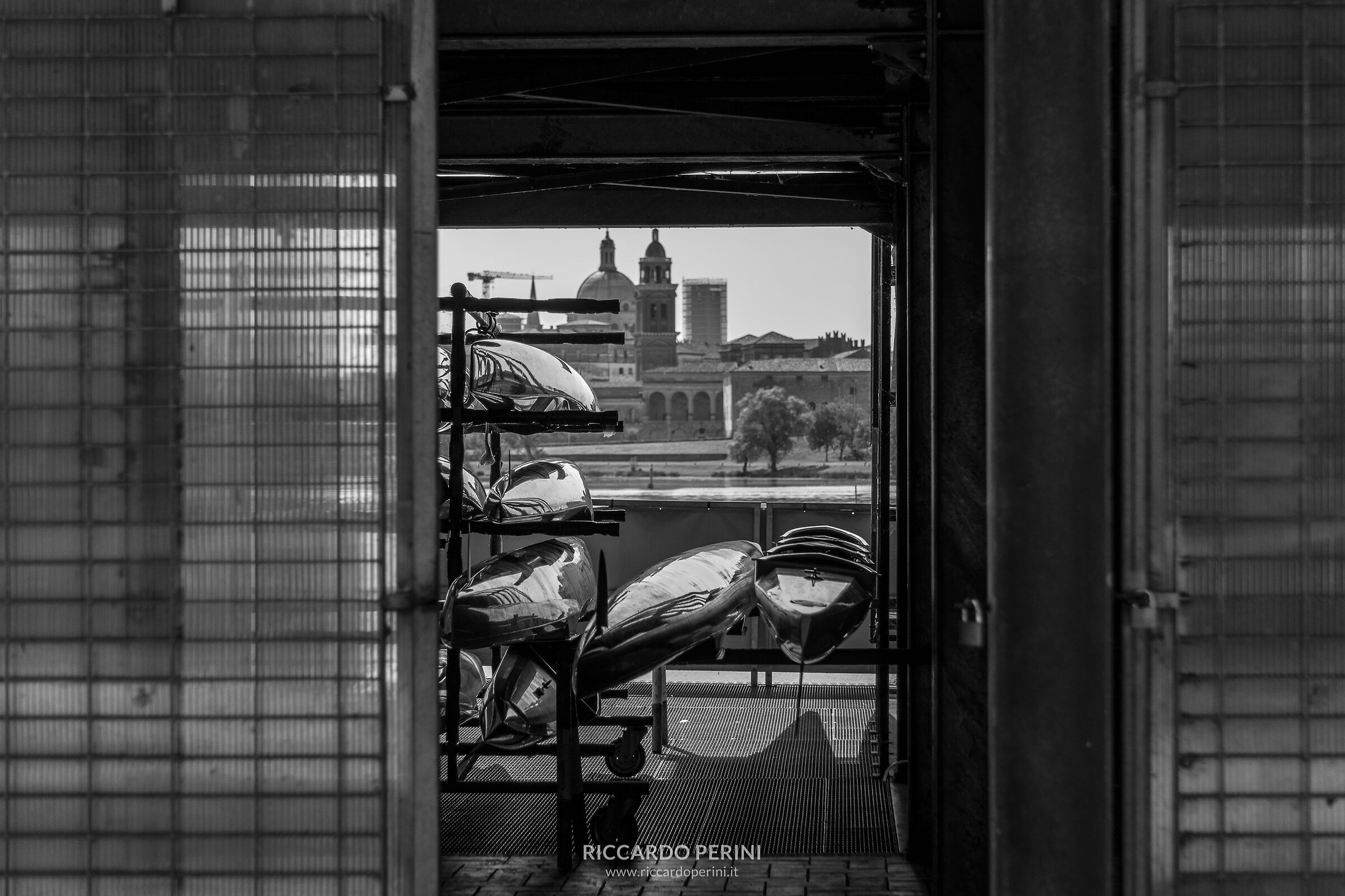 Canoes with a view of Mantua...