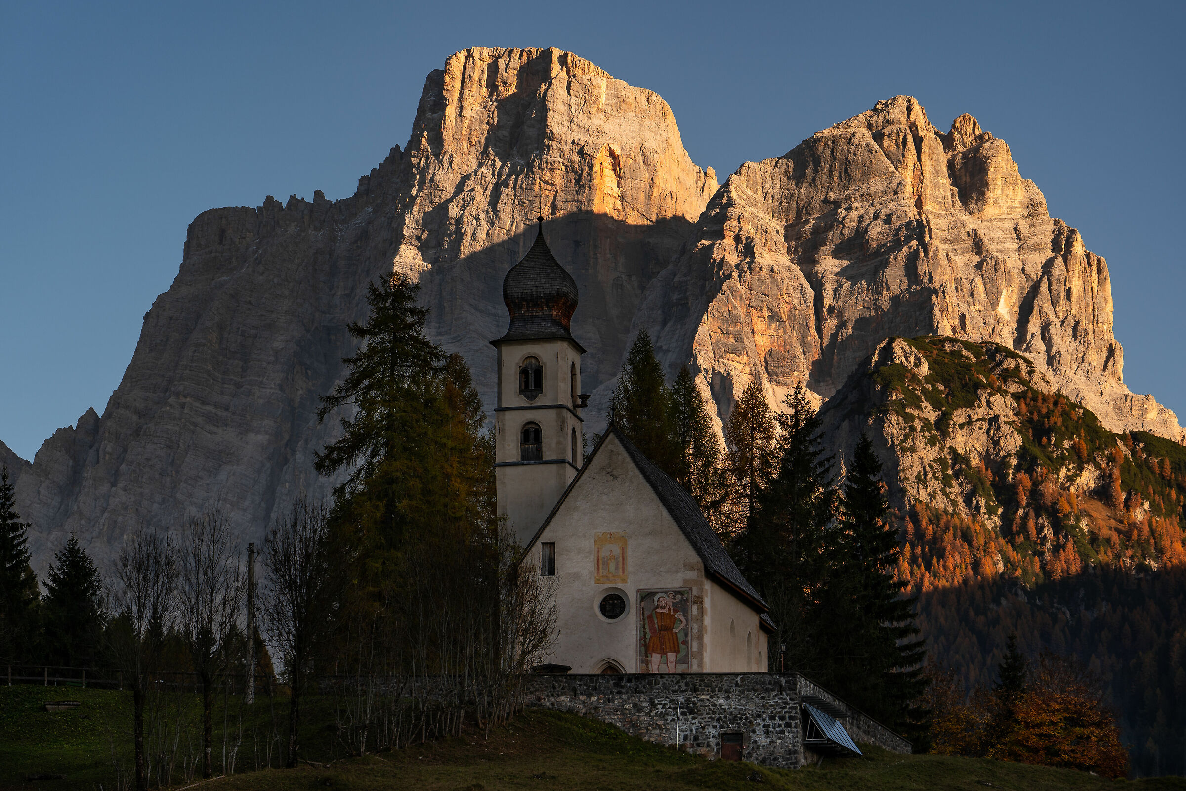 Church of St. Fosca in front of Mt. Pelmo...