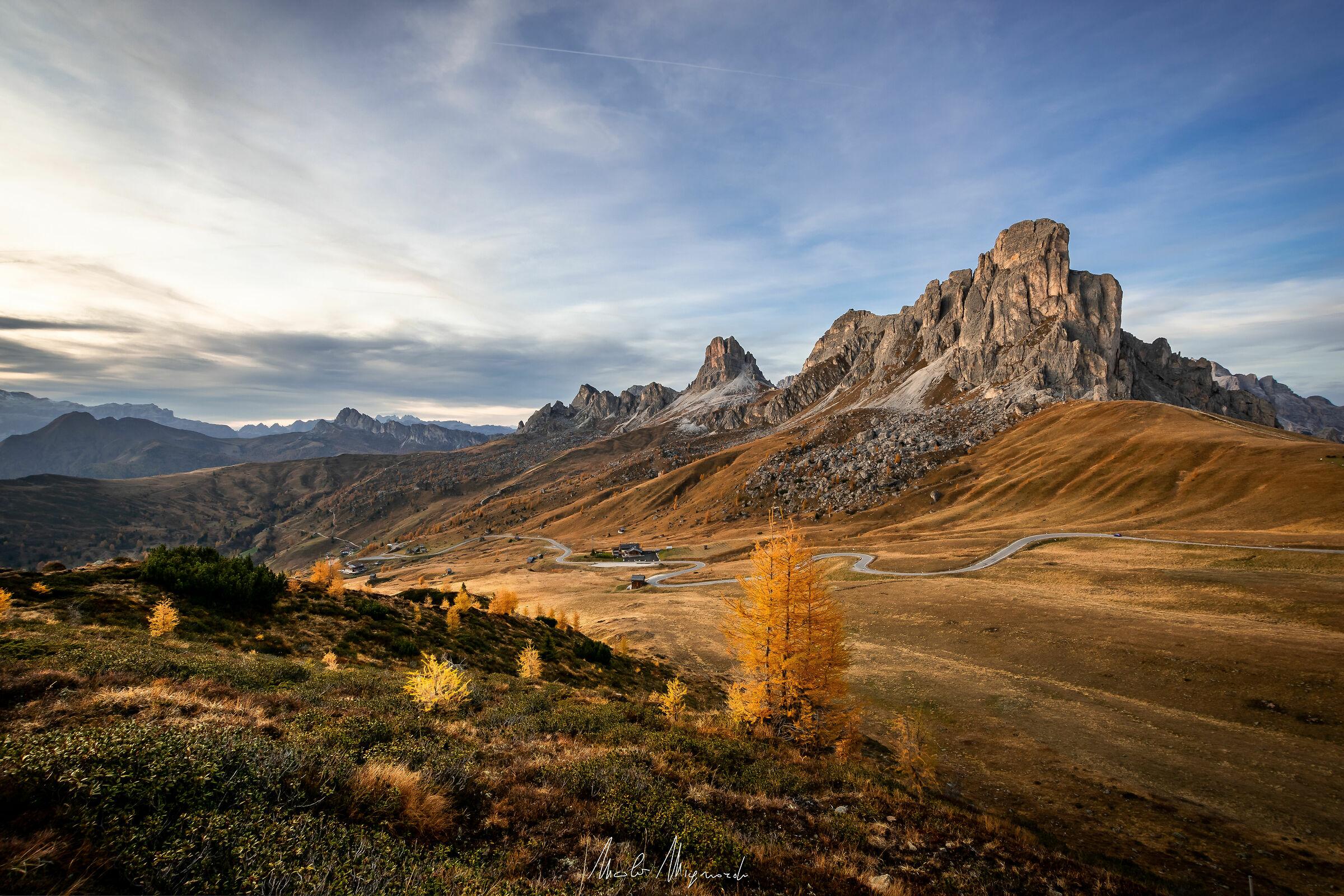 Autumn sunset at Giau Pass...