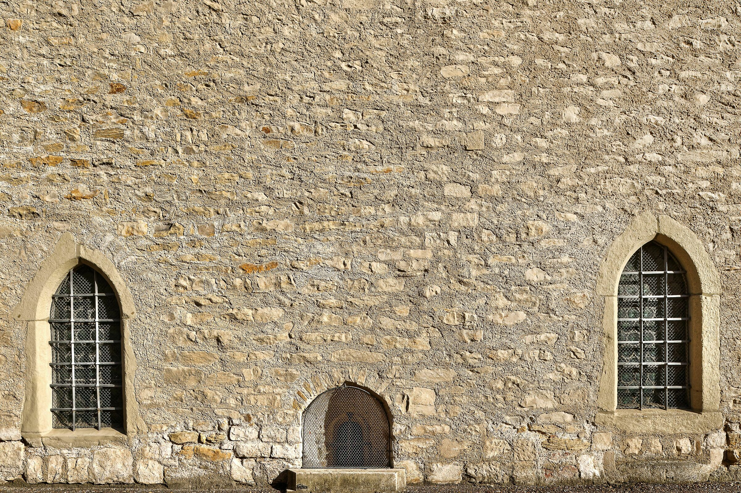 Wall with Gothic-style Windows; Regensburg, Germany...