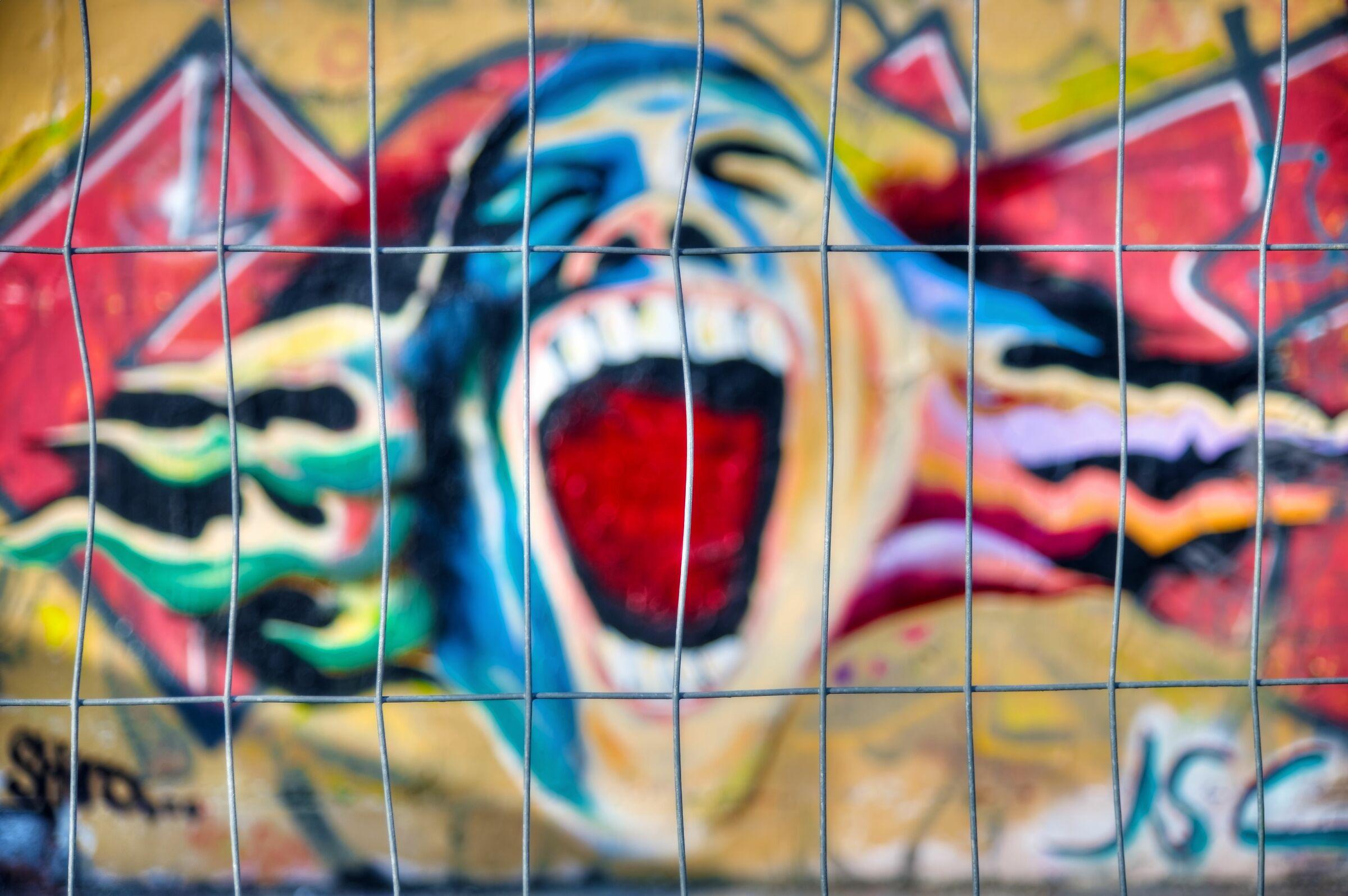 Screaming behind Bars; Wiesbaden, Germany...