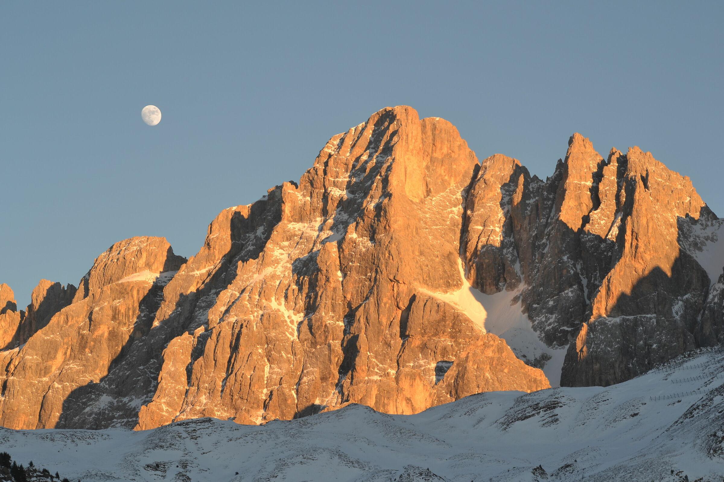 Sunset over the Cimon della Pala...