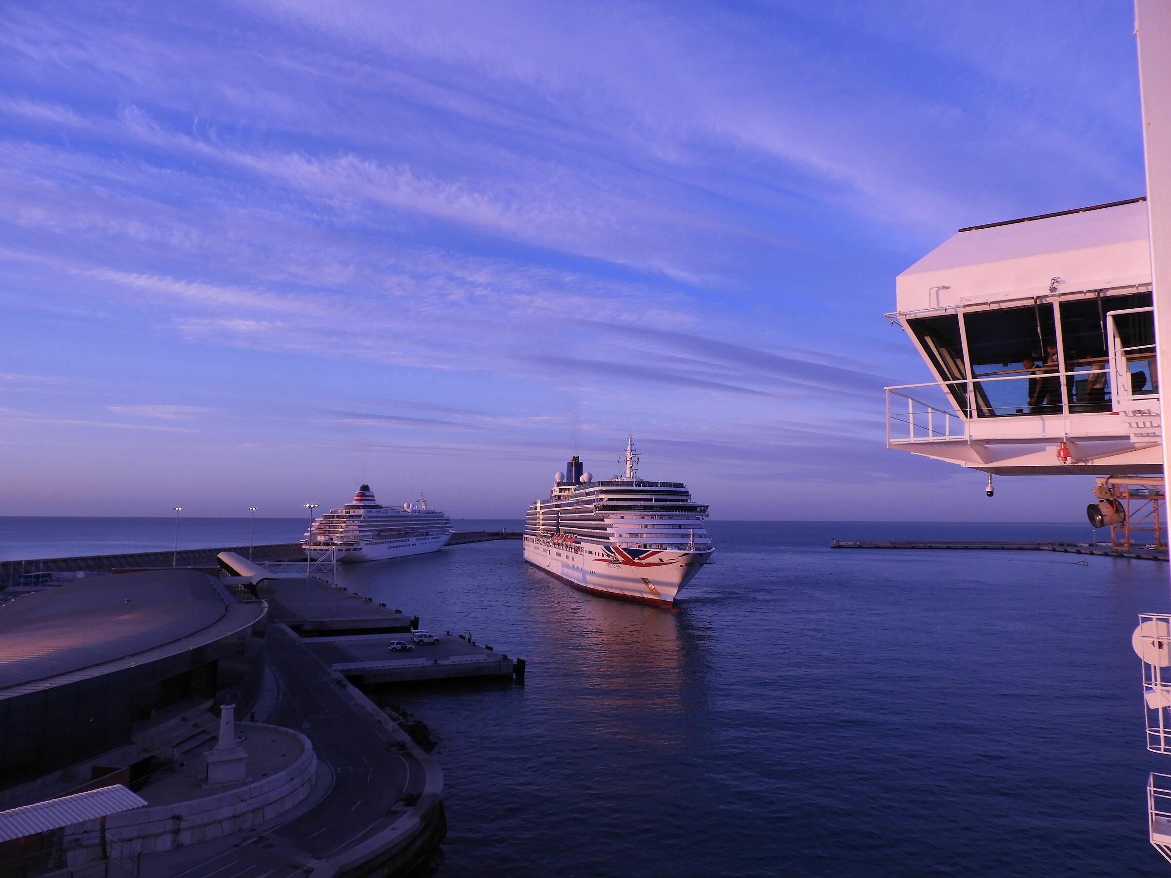 Ships at the port of Malaga...