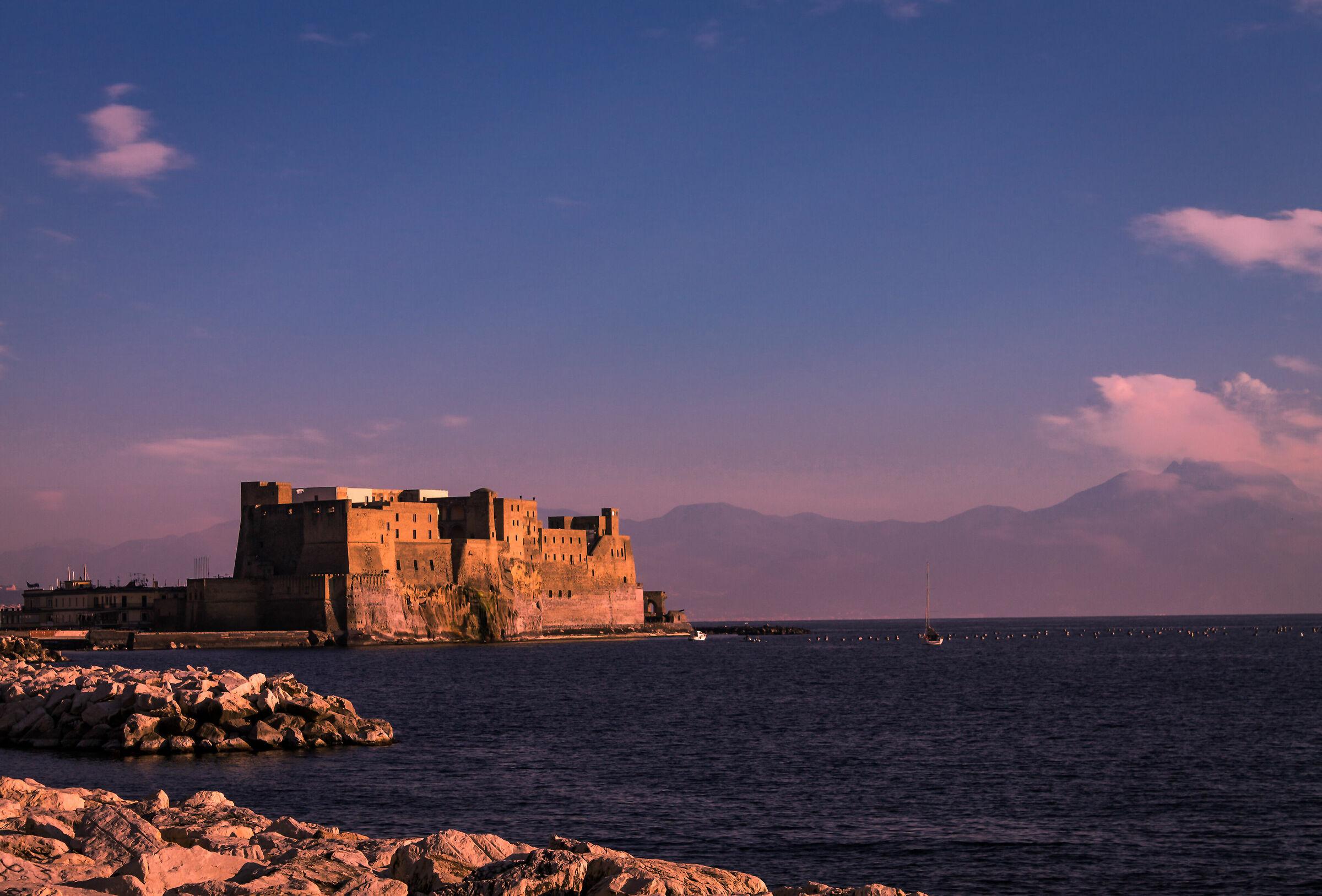 Latest lights on Castel Dell'Ovo...