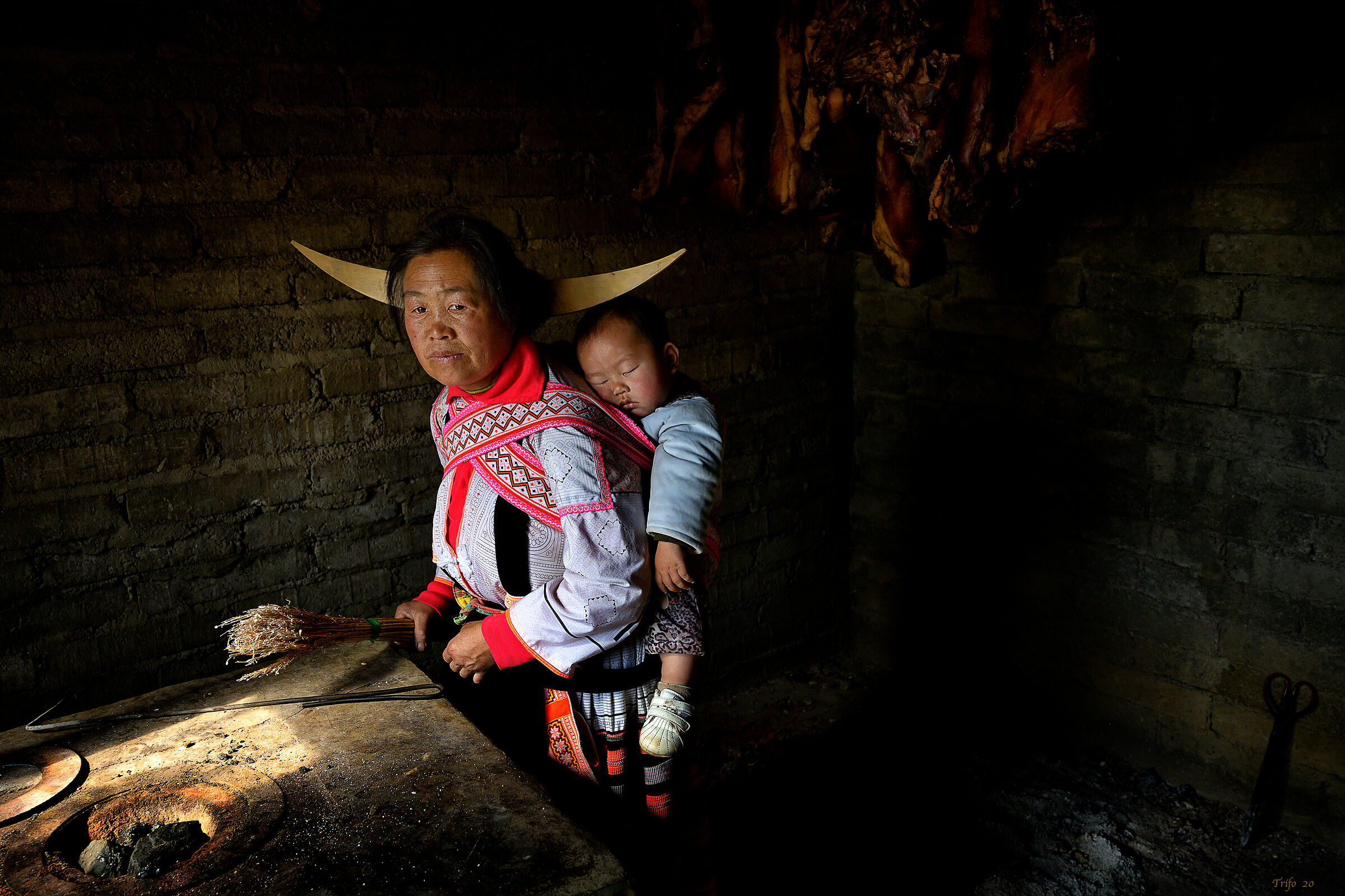 Mother and Baby, Long Horn Miao, Guizhou...