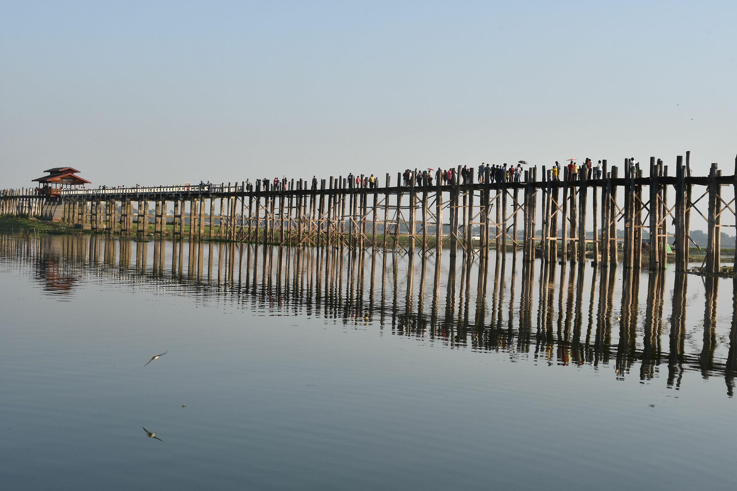 U Bein Bridge on Lake Taun...