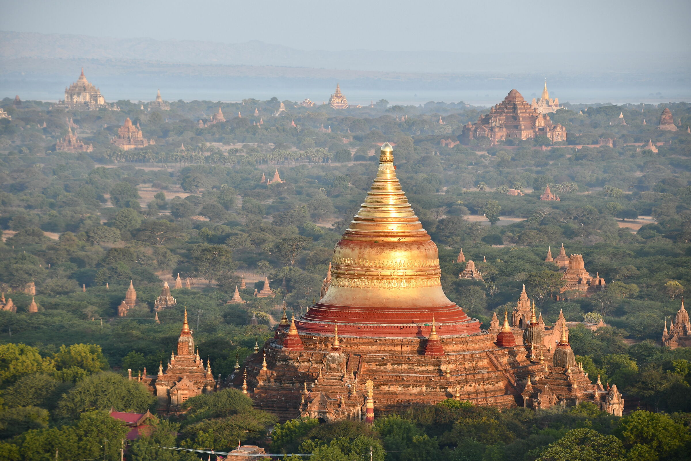 Temples seen from the Hot Air Balloon in Bagan...