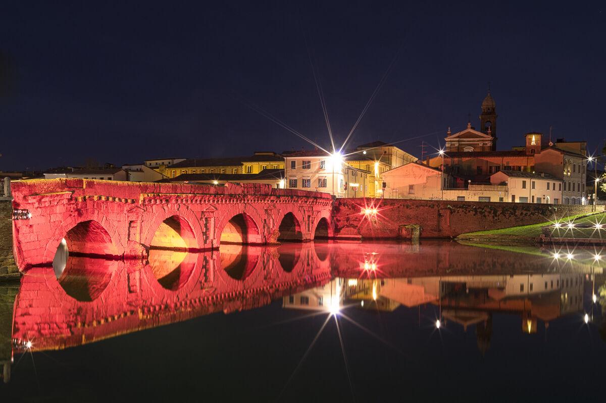 Tiberius Bridge in red...