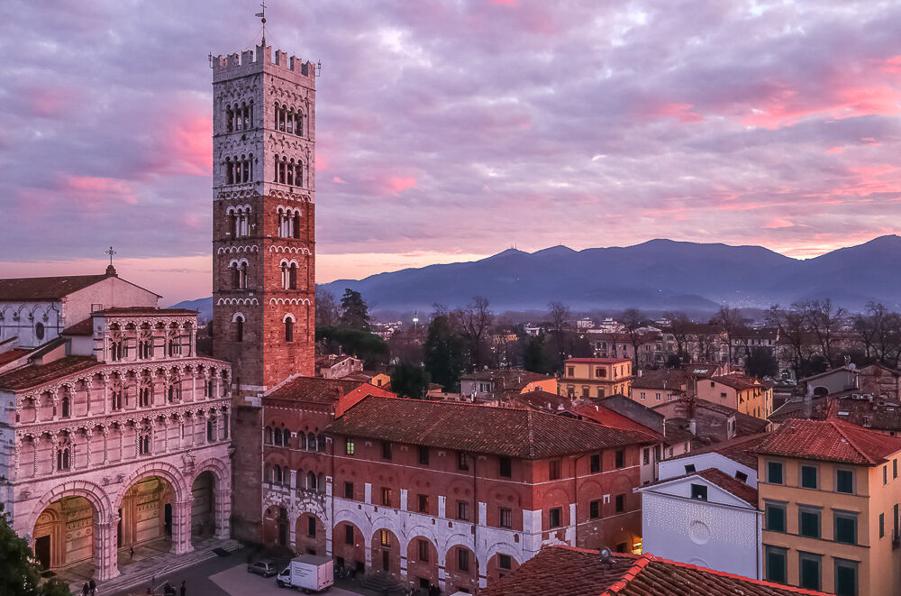 Sunset over St. Martin's Square, Lucca...