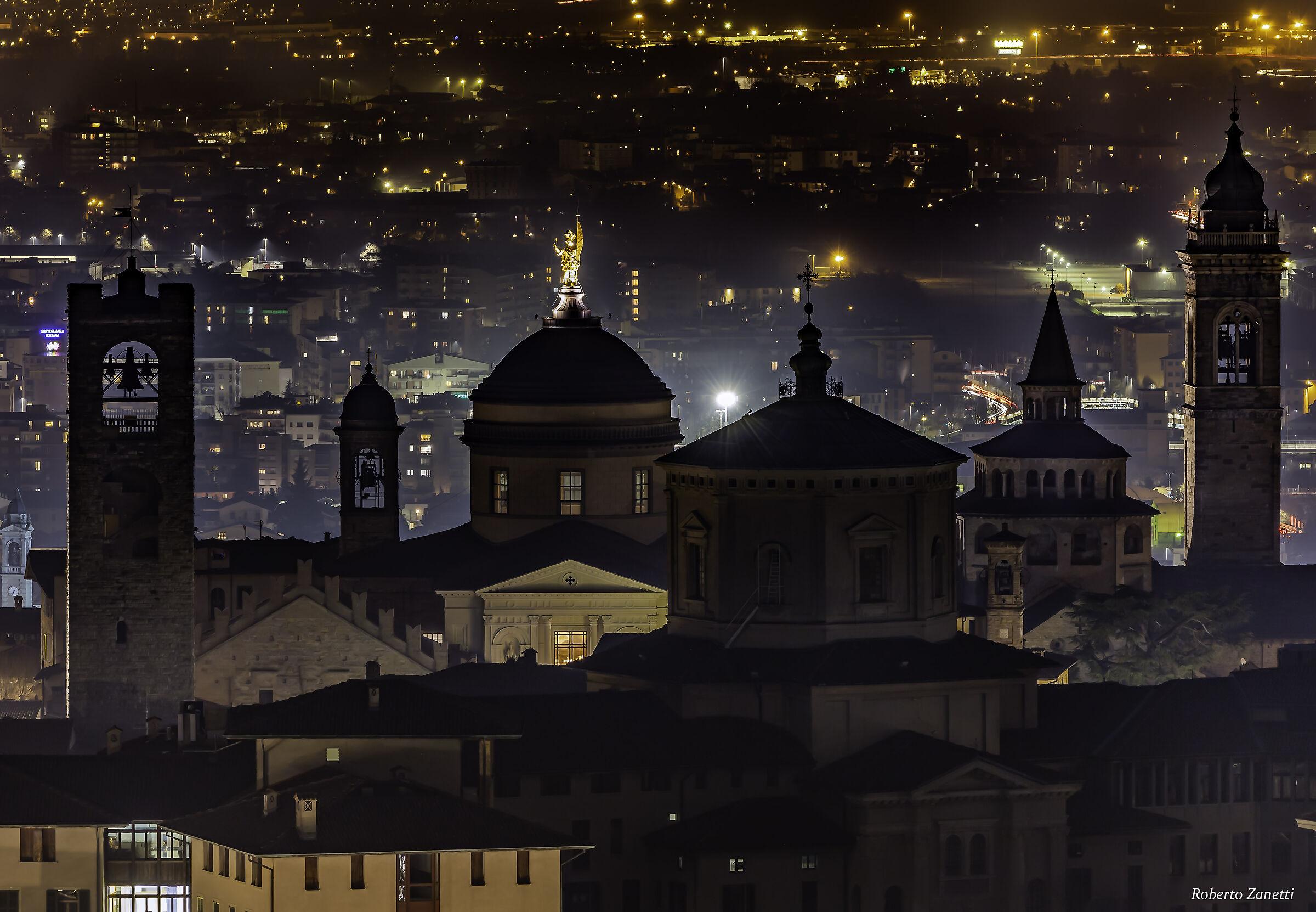 High Bergamo City as seen from San Vigilio hill...