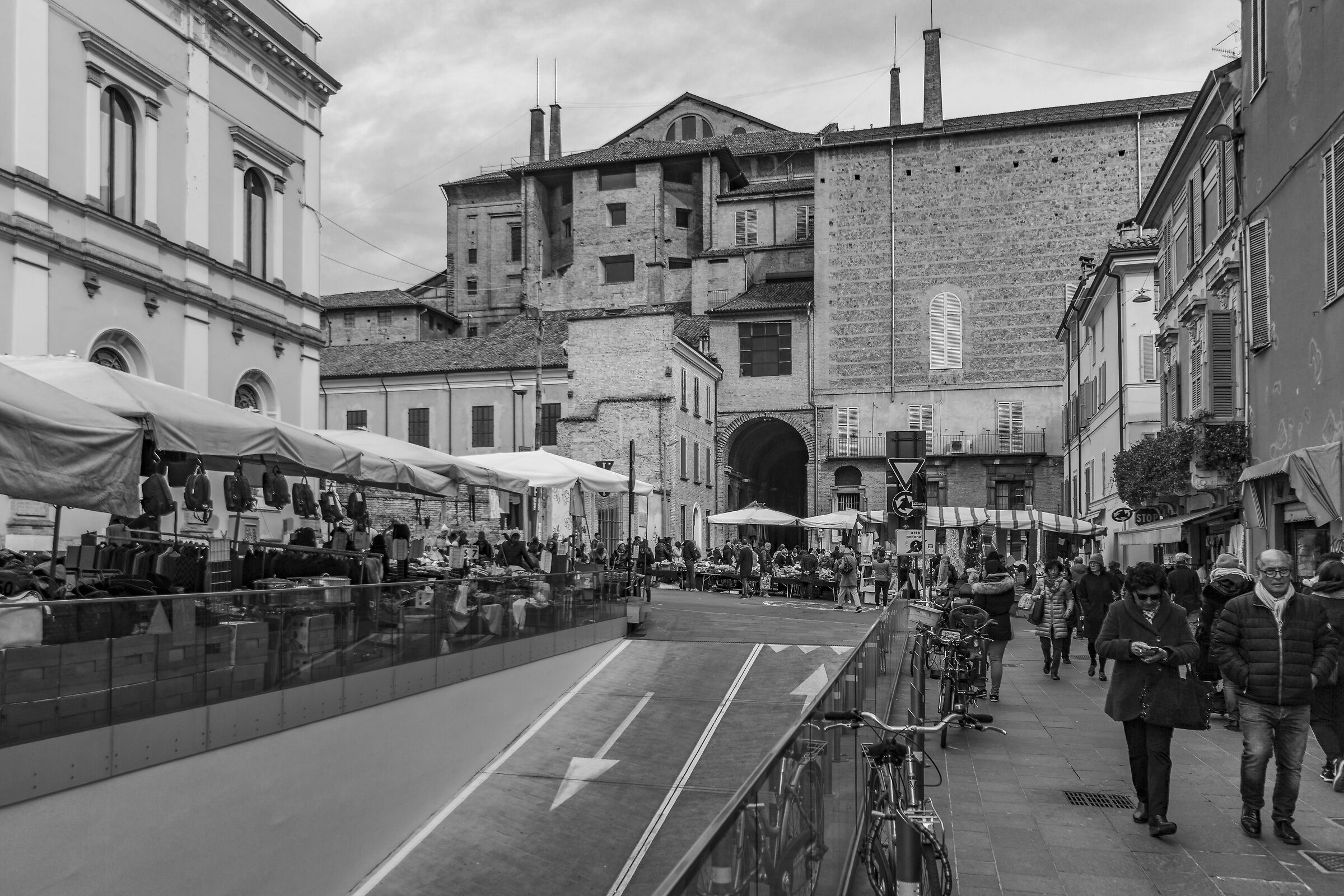 The Pilotta as seen from Piazza Ghiaia...