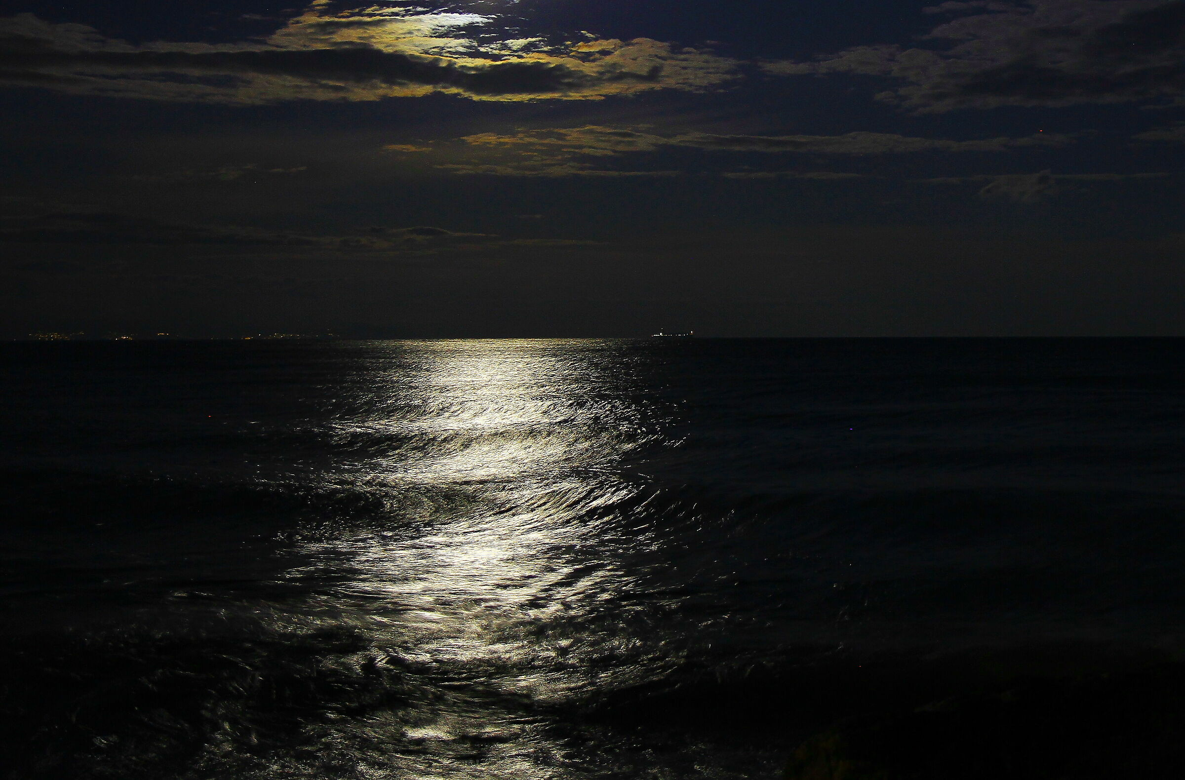 Moon and sea... moonless...