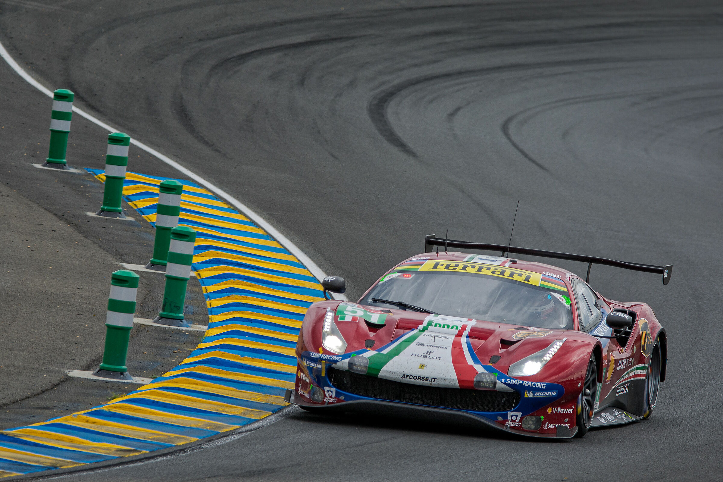 WEC GTPro Ferrari 488 at the Esses...