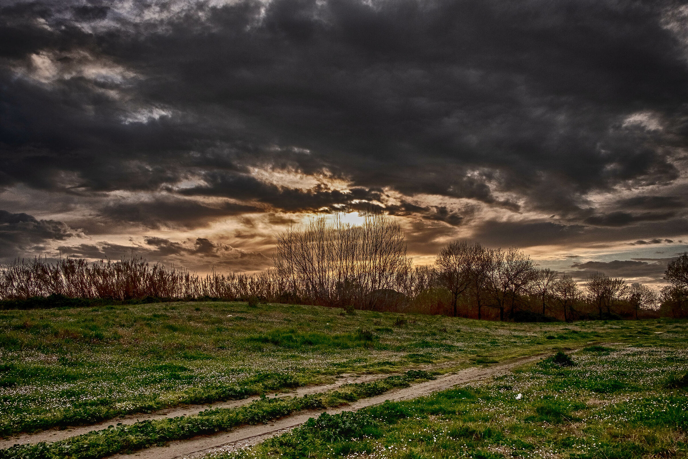 Sunset from a golenale area of the Volturno...