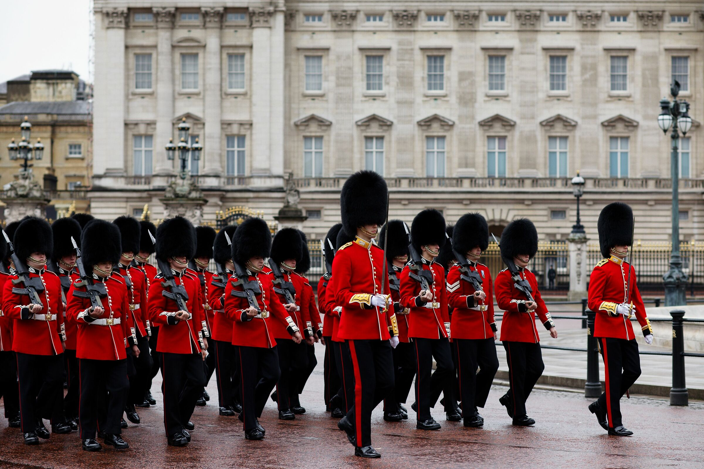 Suspended changing of the guard at Buckingham Palace...