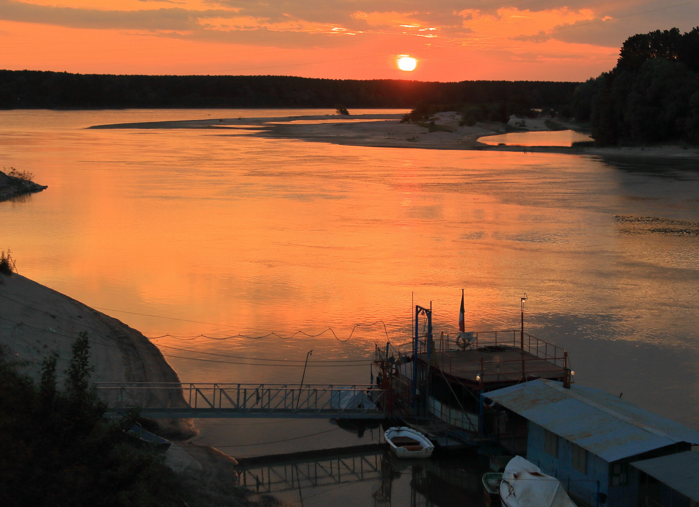 sunset over the Po River...