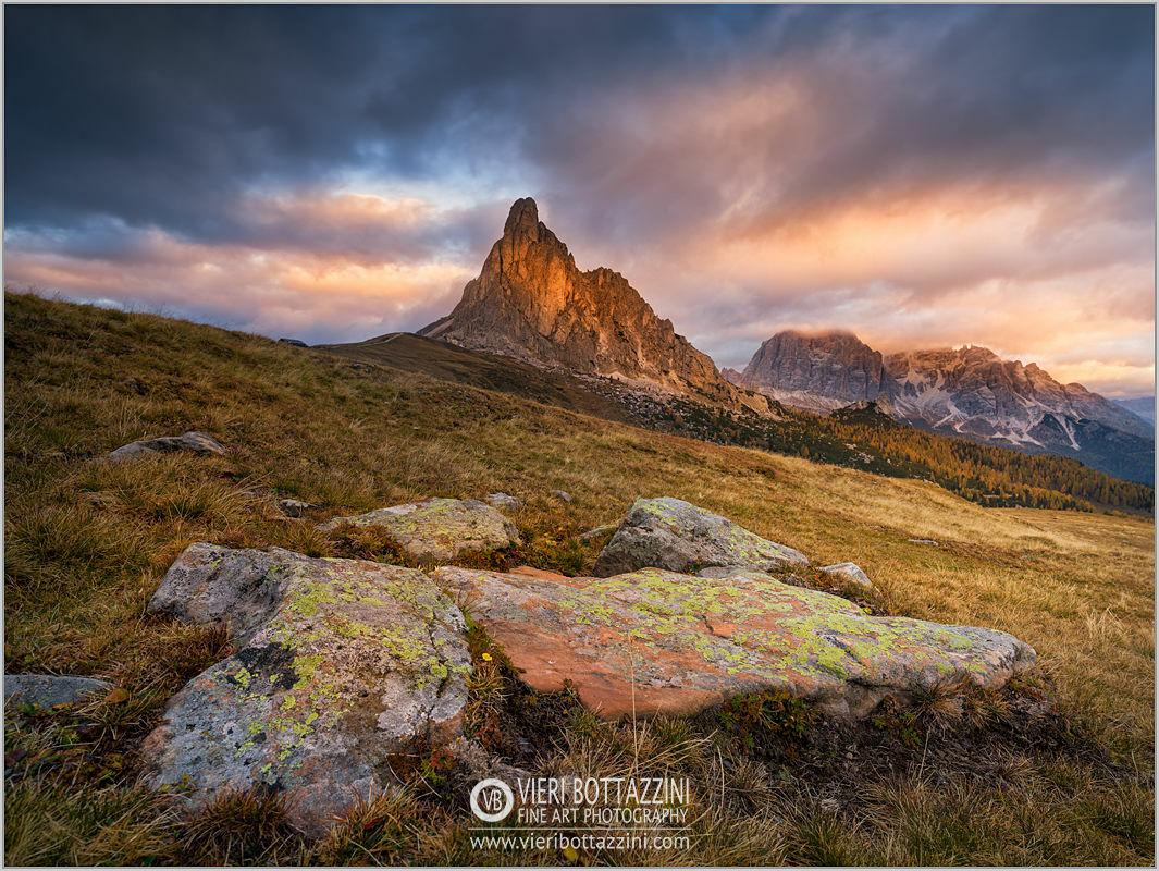 Sunrise at Pass Giau, Dolomites...