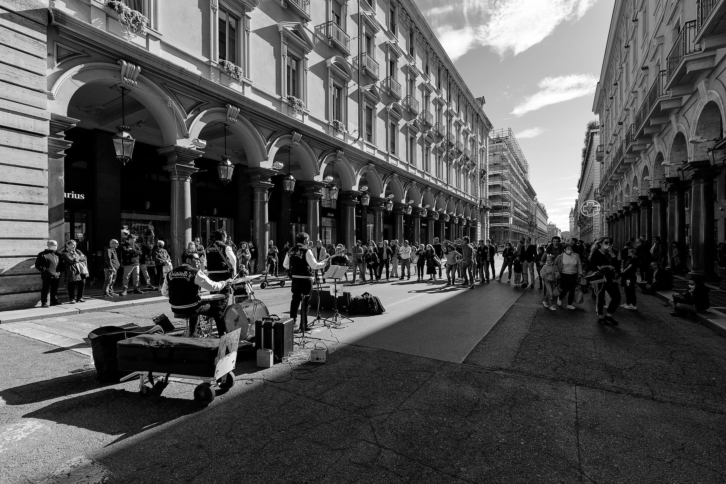 Street artists in Turin...