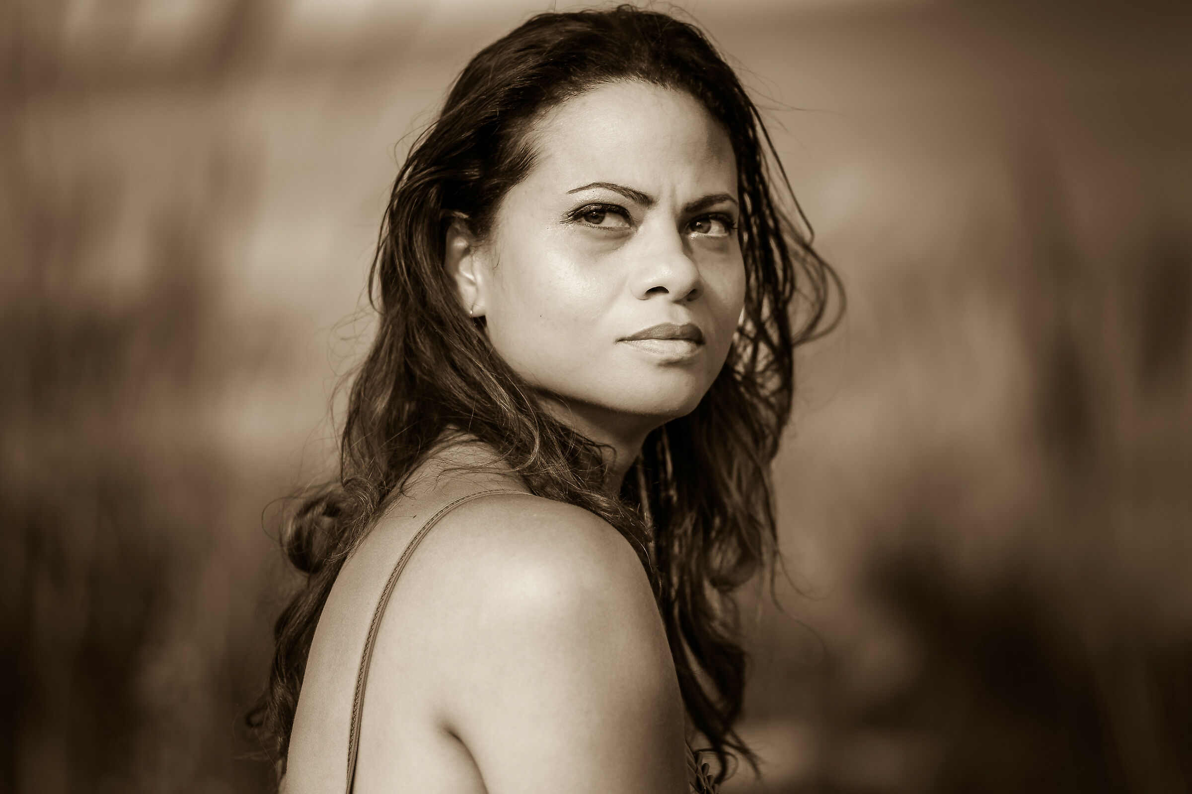 my wife in sepia...