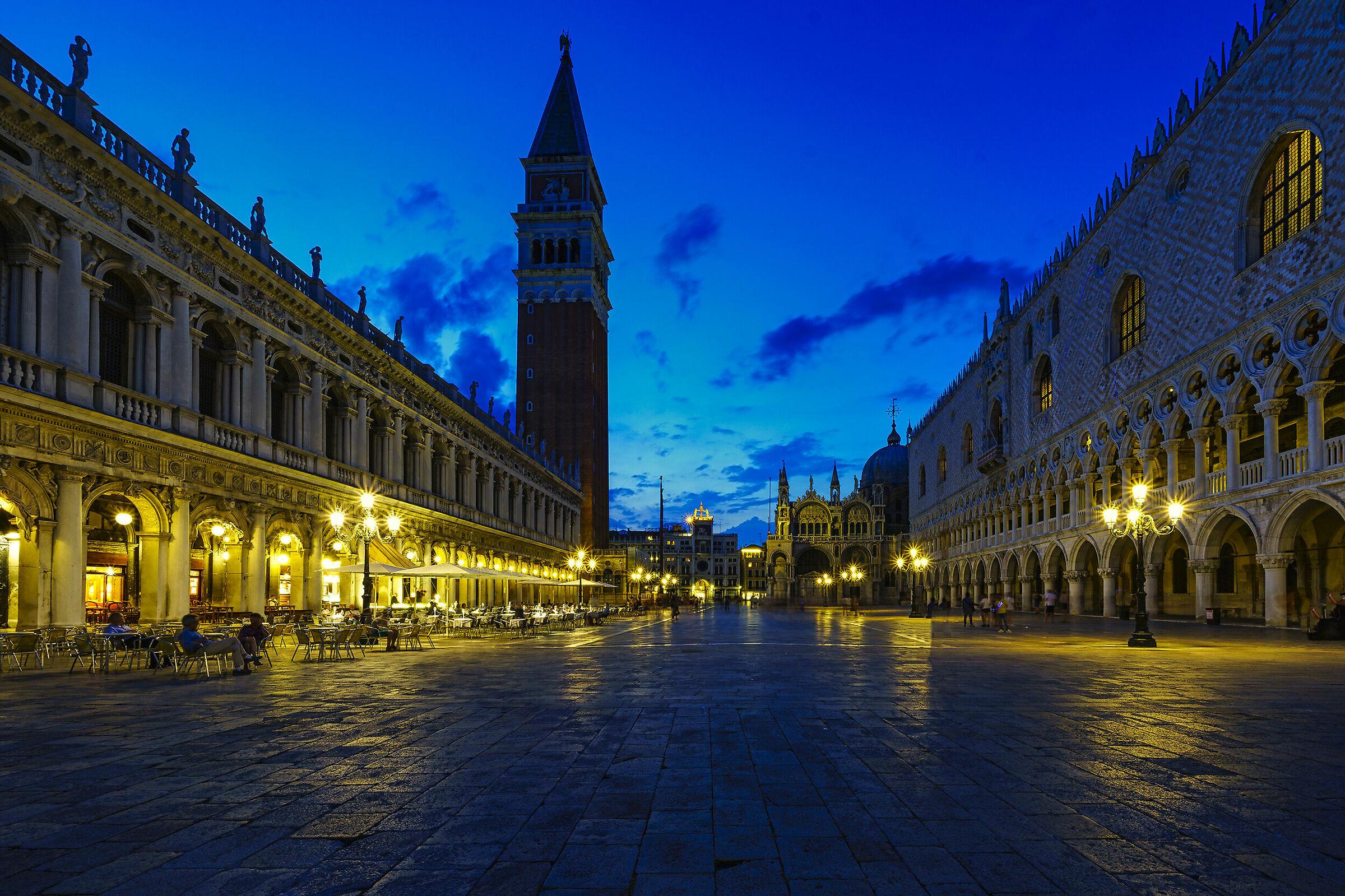 Venice St. Mark's Square, now blue...