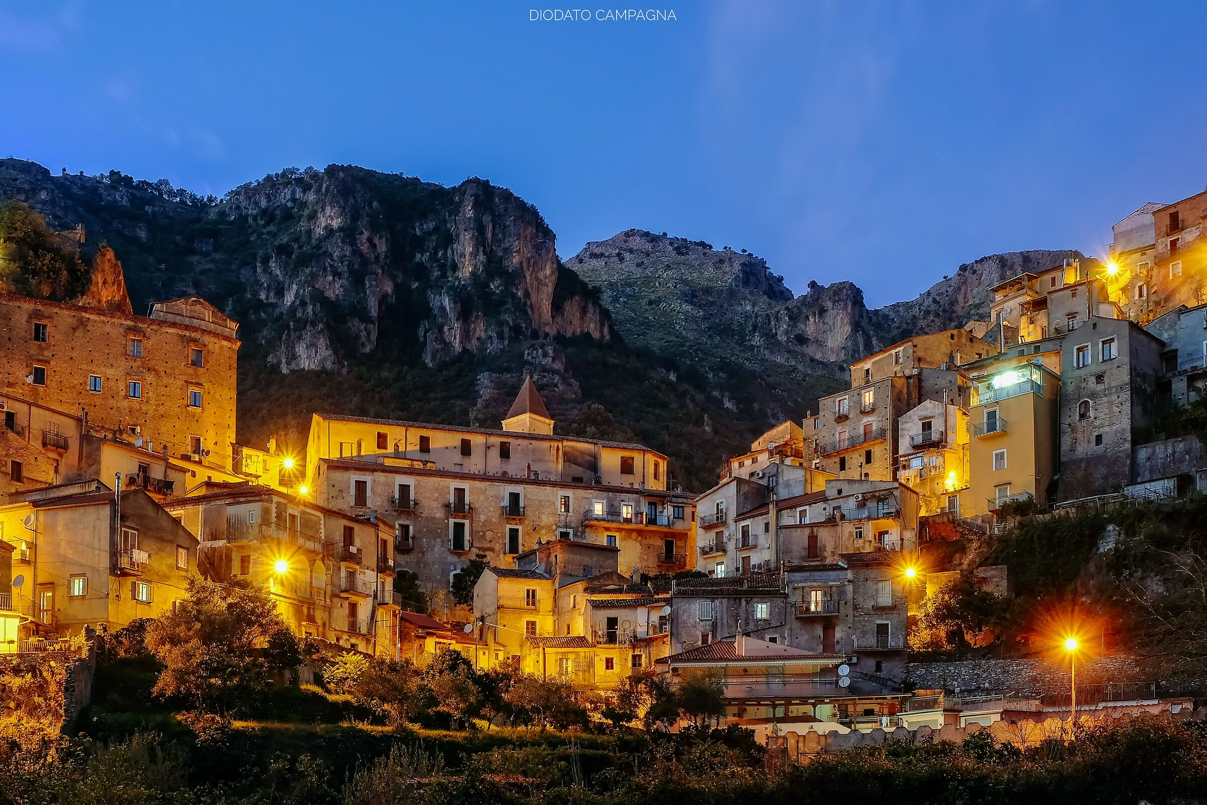 The village of Orsomarso in the evening...
