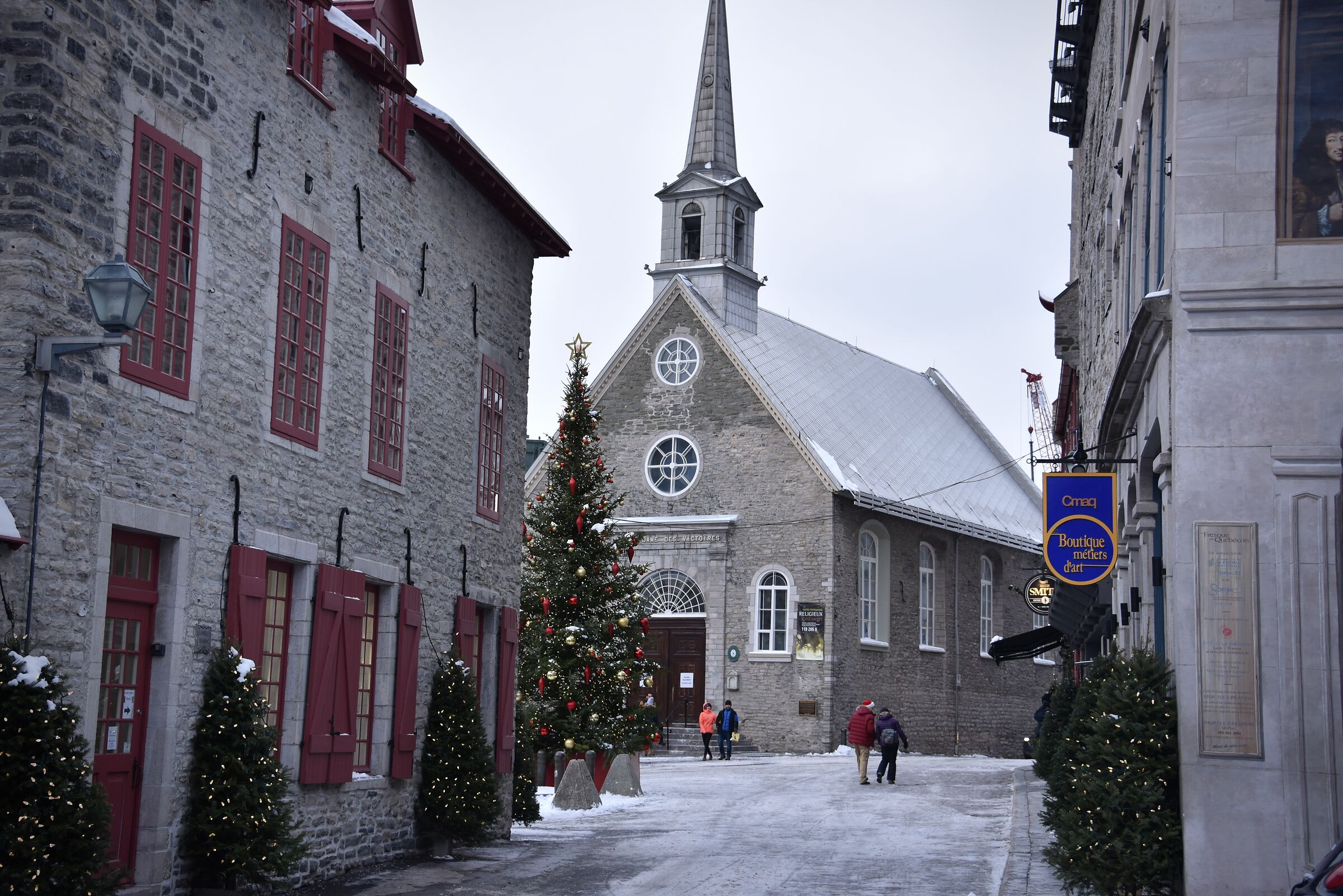 Holiday season in Petit Champlain during the Christmas...