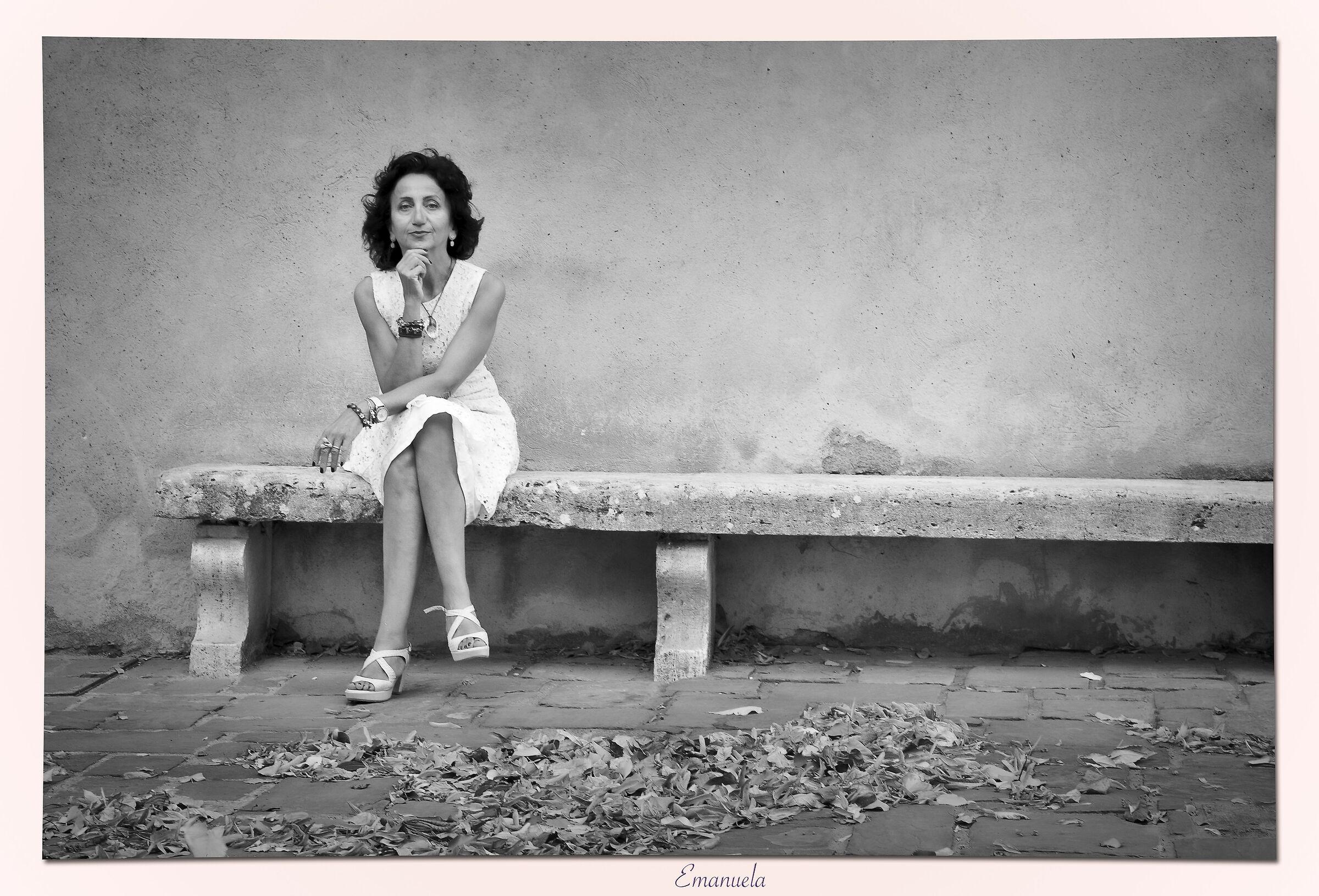 Portrait of a woman in a light dress...