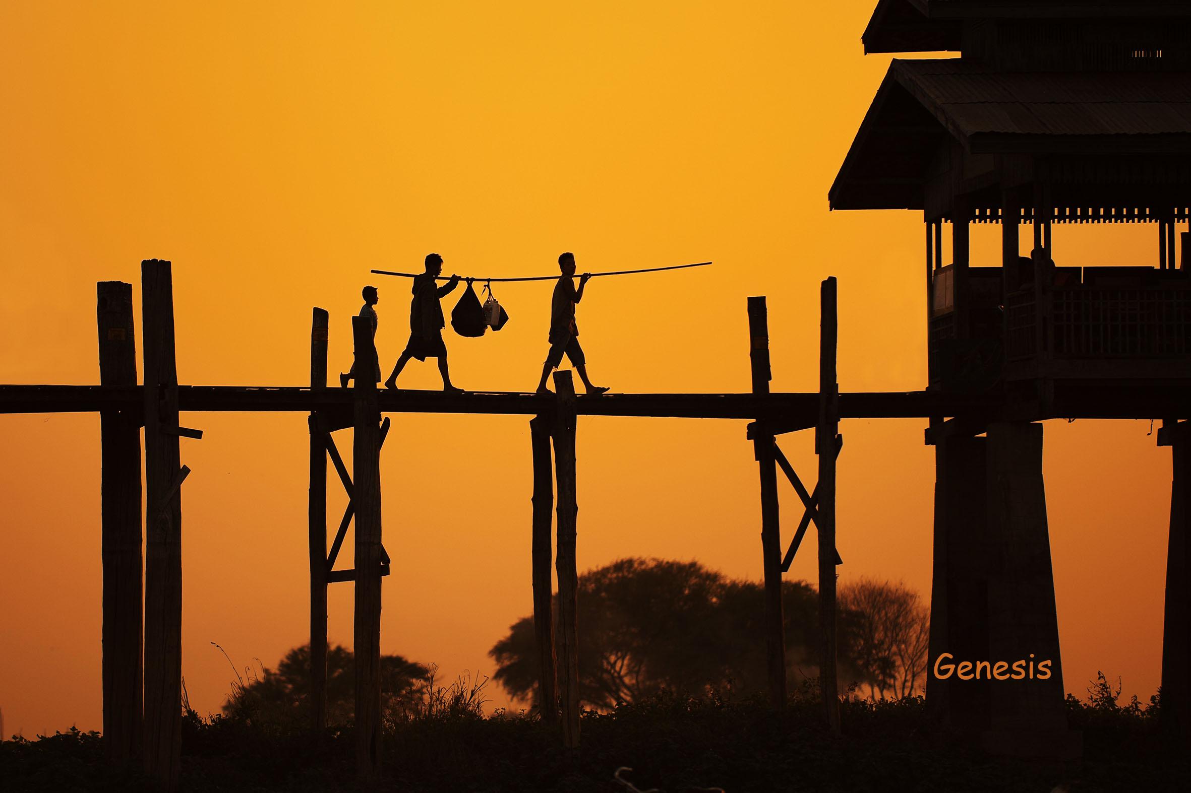 U-Pain Bridge, Mandalay Myanmar...