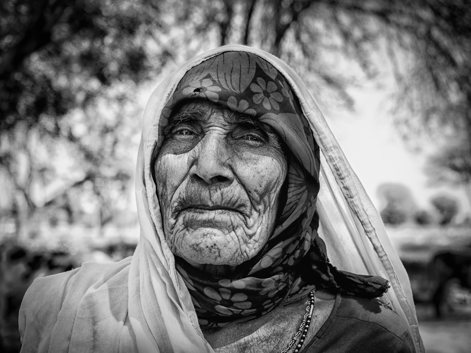 Old woman in an Indian village...