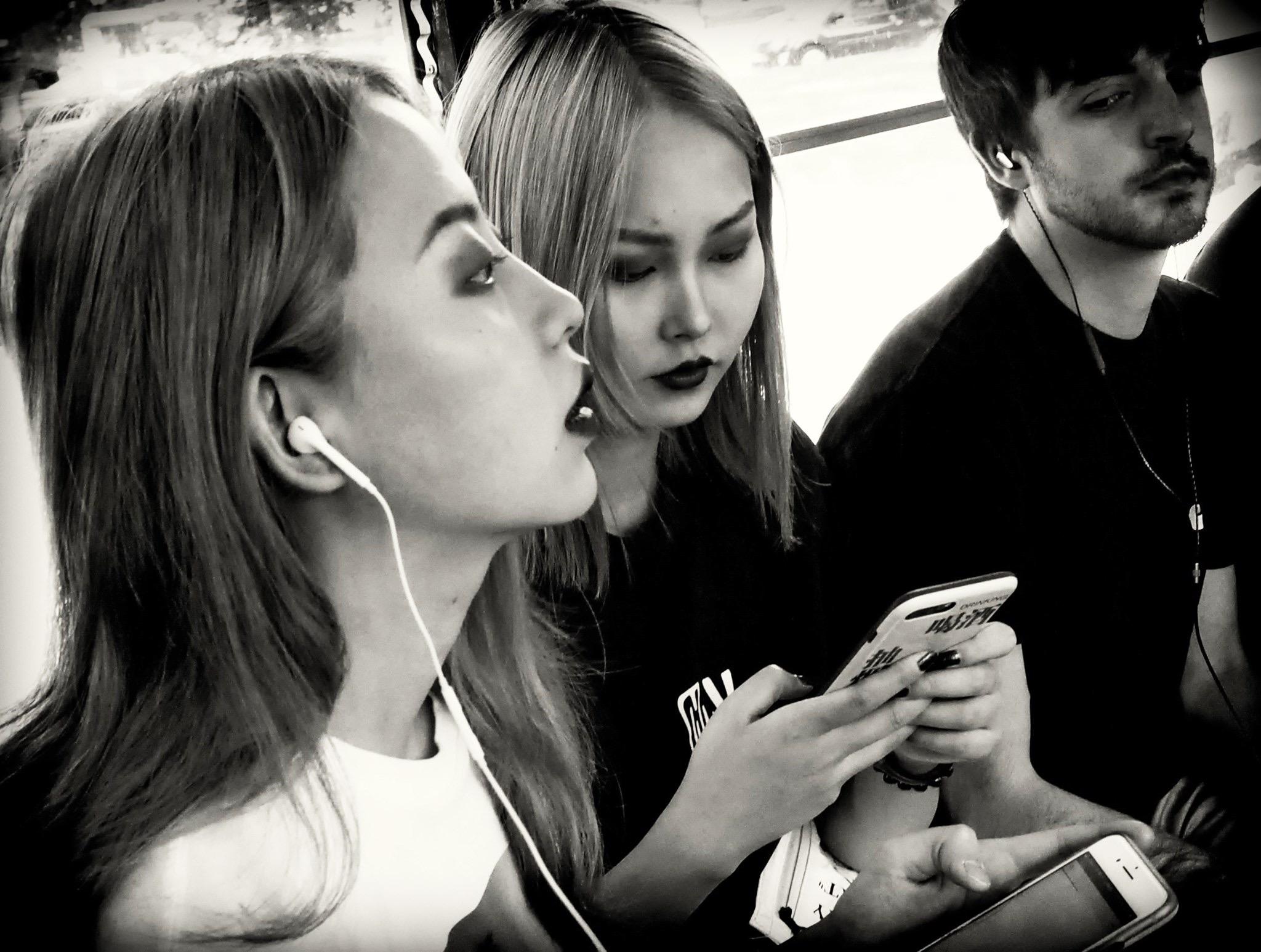 In tram...