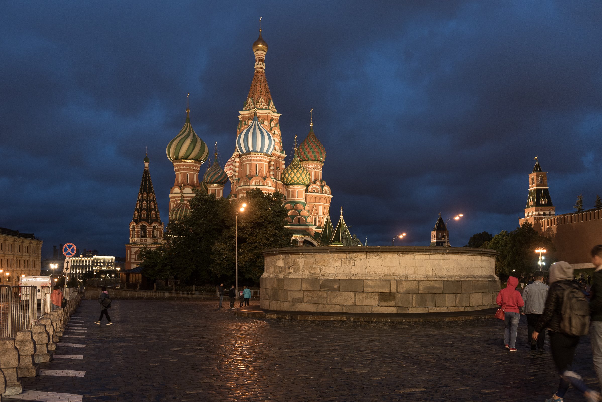 Moscow, St. Basil; in the background the walls of the Kremlin...